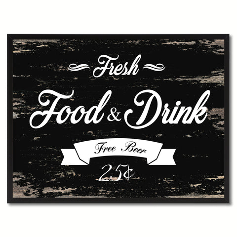 Fresh Food & Drink Vintage Sign Black Canvas Print Home Decor Wall Art Gifts Picture Frames