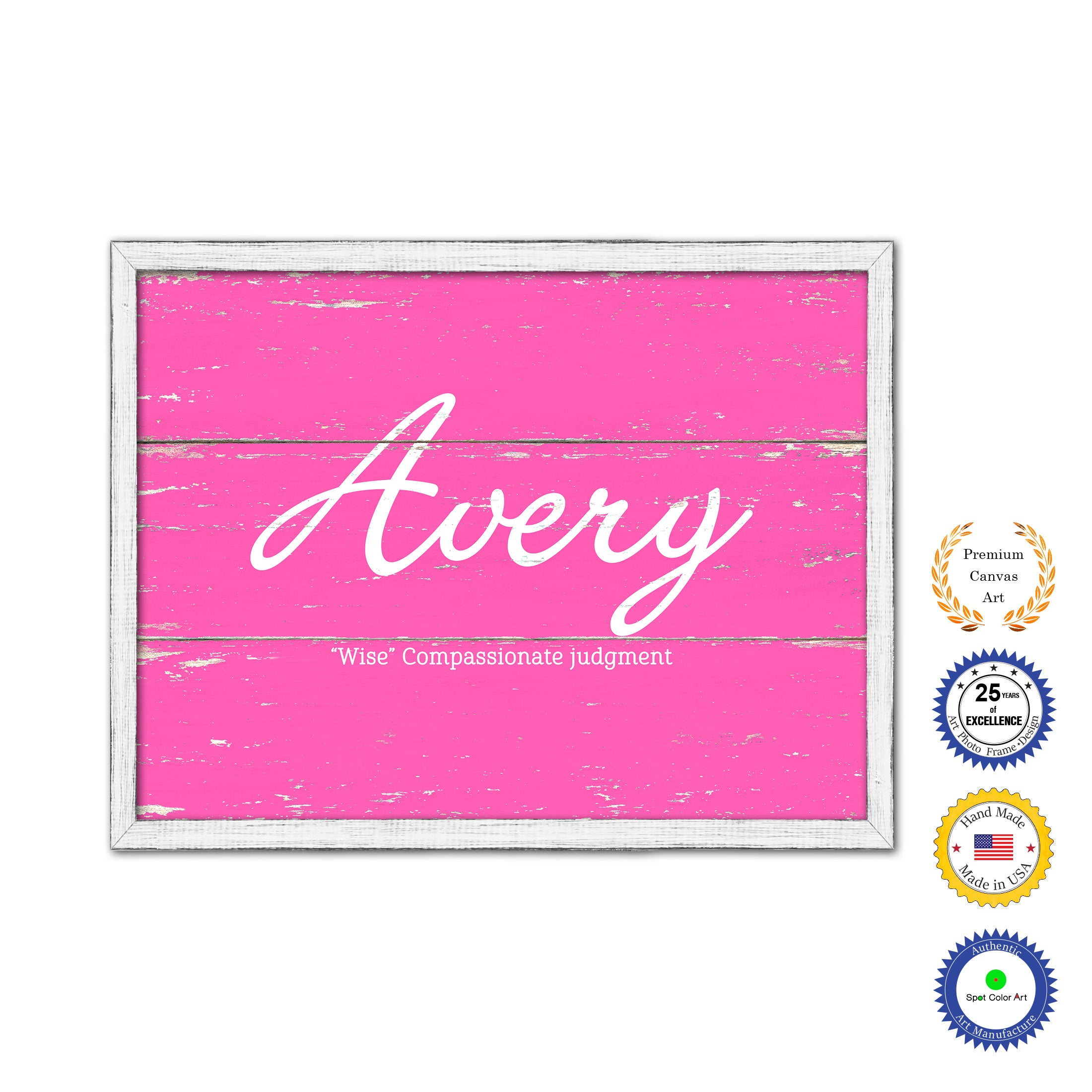 Avery Name Plate White Wash Wood Frame Canvas Print Boutique Cottage Decor Shabby Chic