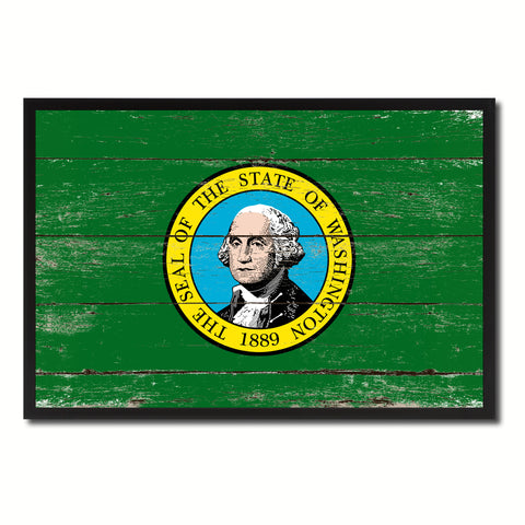 Washington State Flag Vintage Canvas Print with Black Picture Frame Home DecorWall Art Collectible Decoration Artwork Gifts