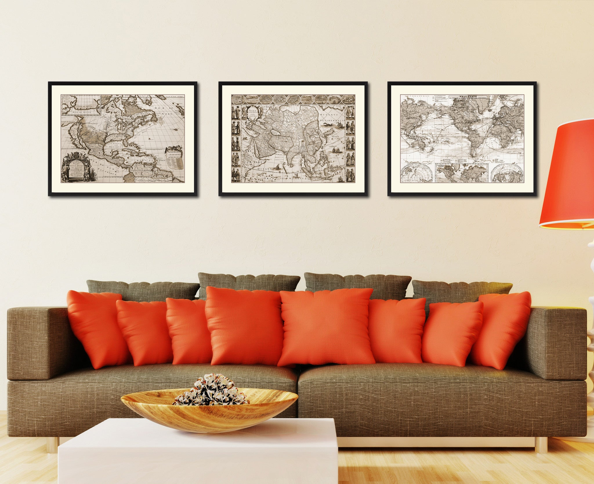 Asia Vintage Sepia Map Canvas Print, Picture Frame Gifts Home Decor Wall Art Decoration