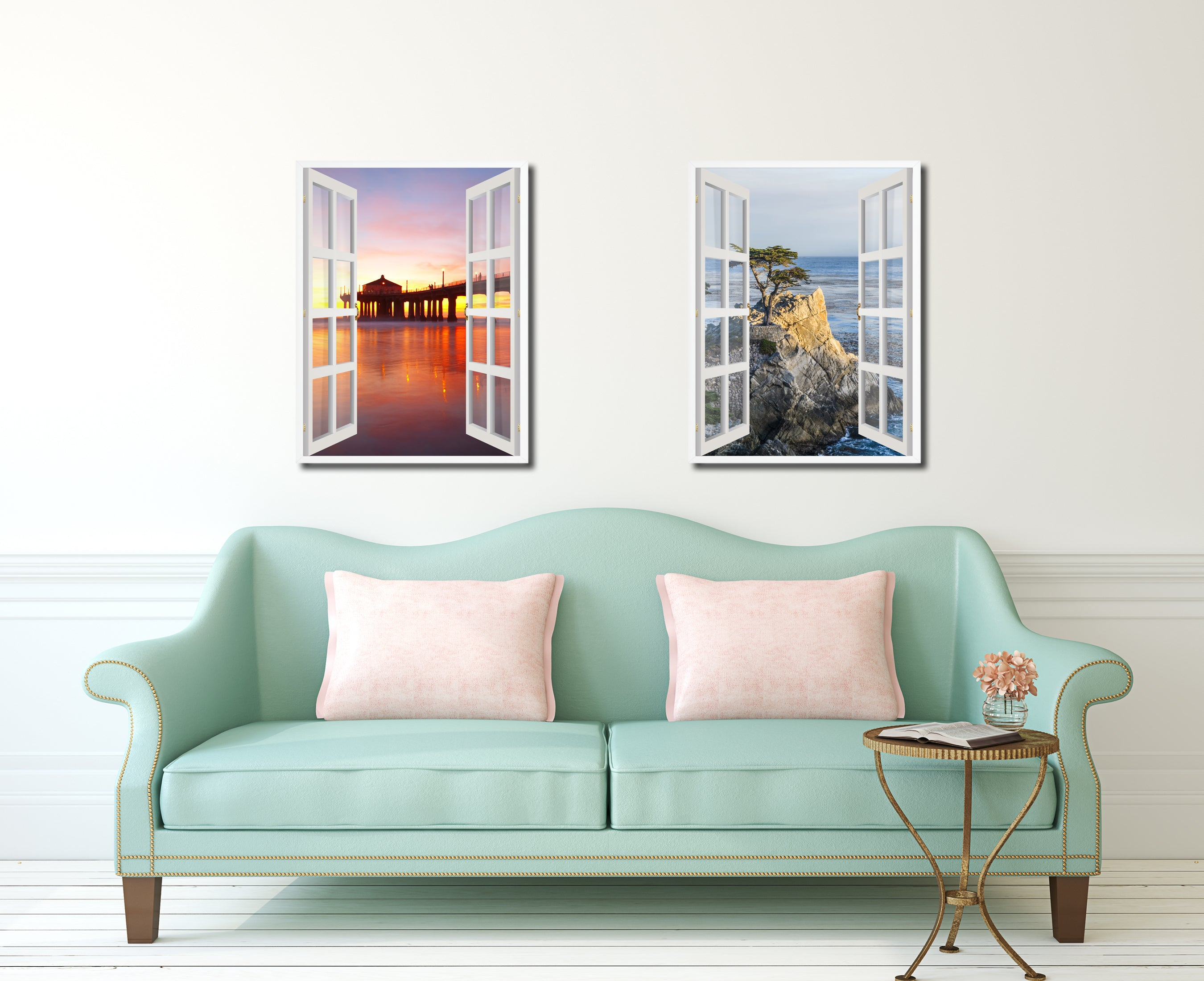 Manhattan Beach California Sunset View Picture French Window Canvas Print  With Frame Gifts Home Decor Wall