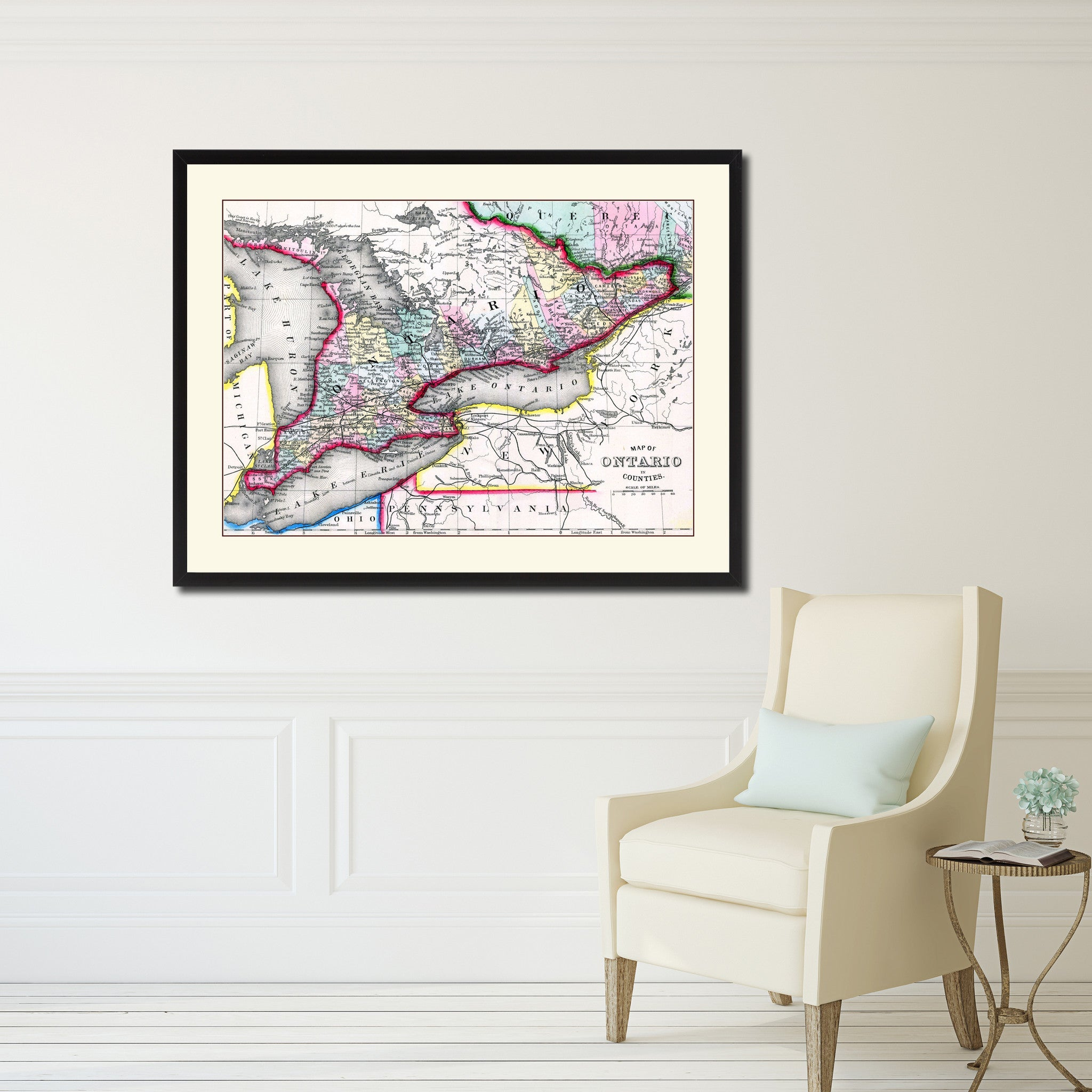 Canada Home Decor Ideas: Ontario Canada Vintage Antique Map Wall Art Bedroom Home