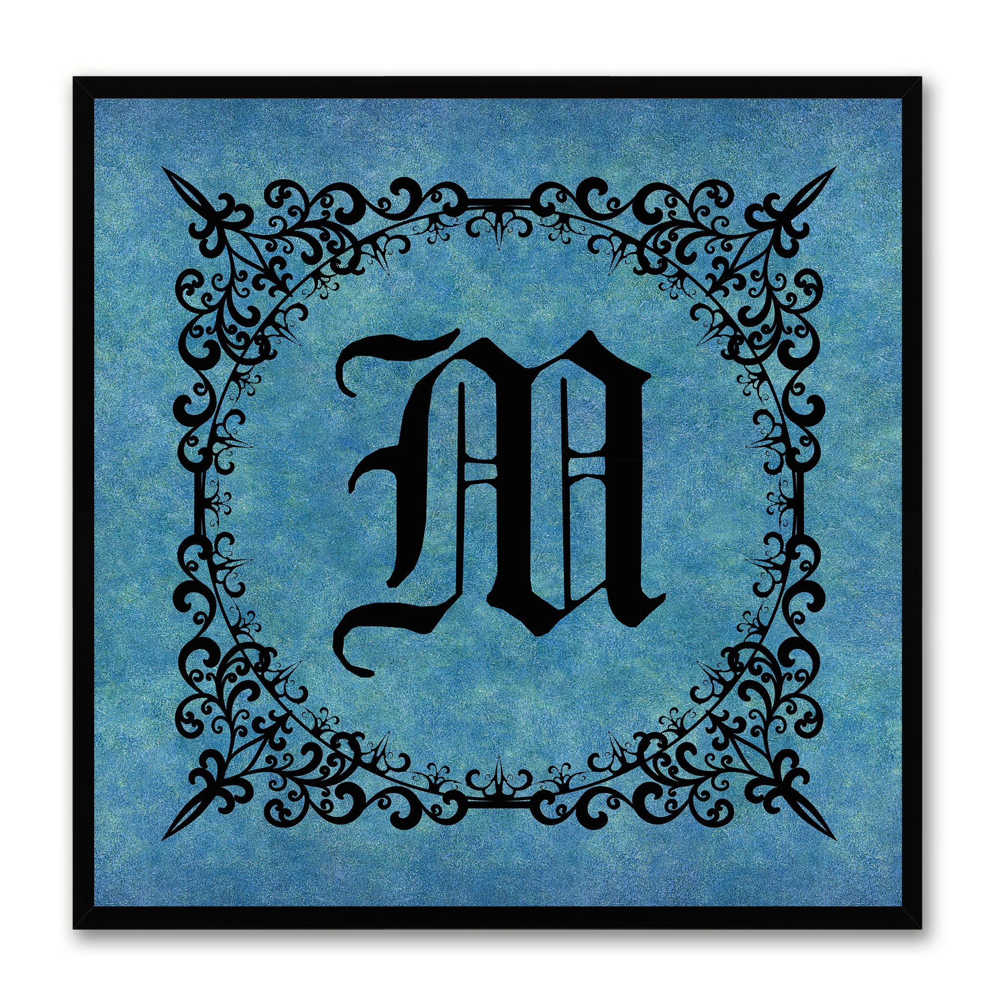 Alphabet M Blue Canvas Print Black Frame Kids Bedroom Wall Décor Home Art