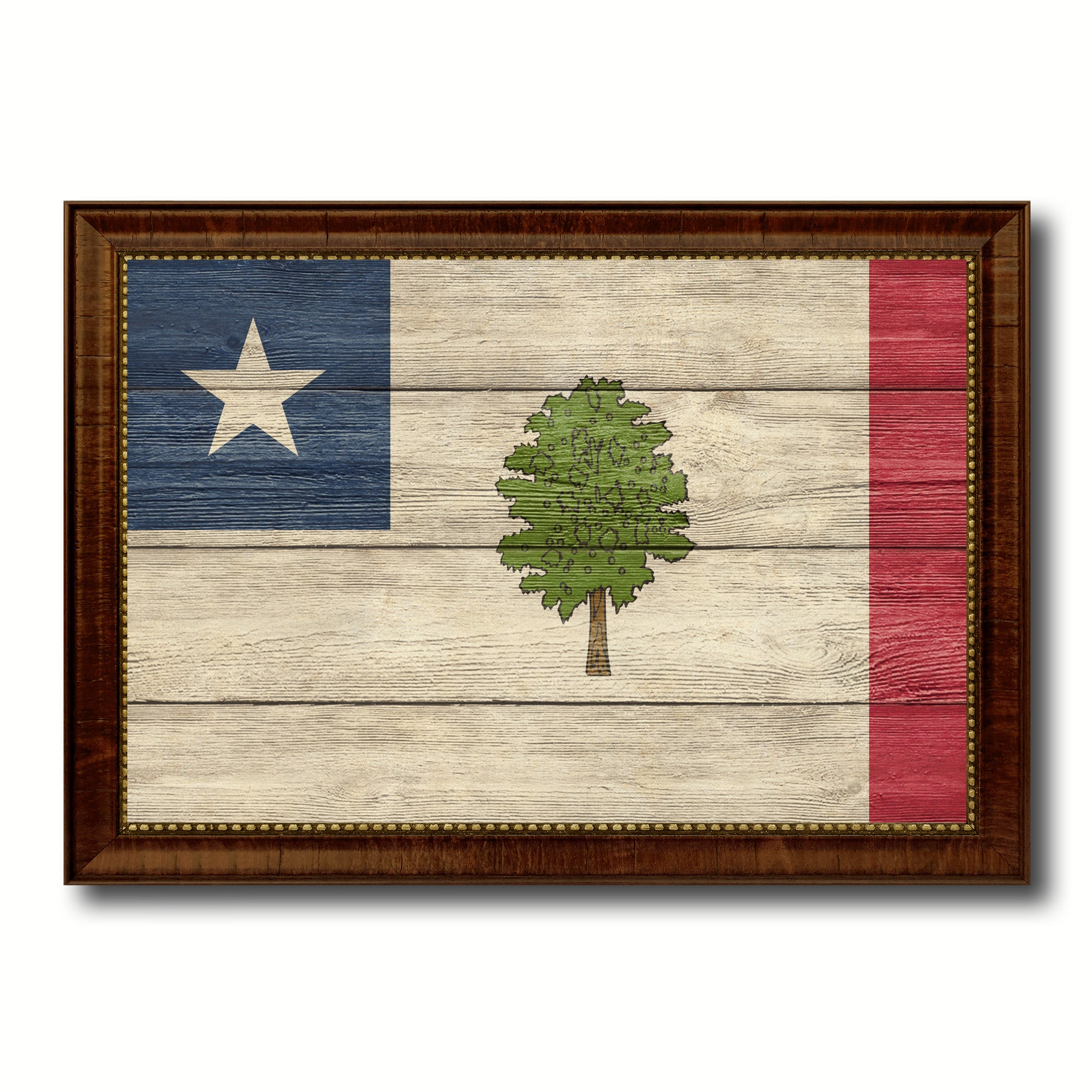 Magnolia City Mississippi State Texture Flag Canvas Print Brown Picture Frame