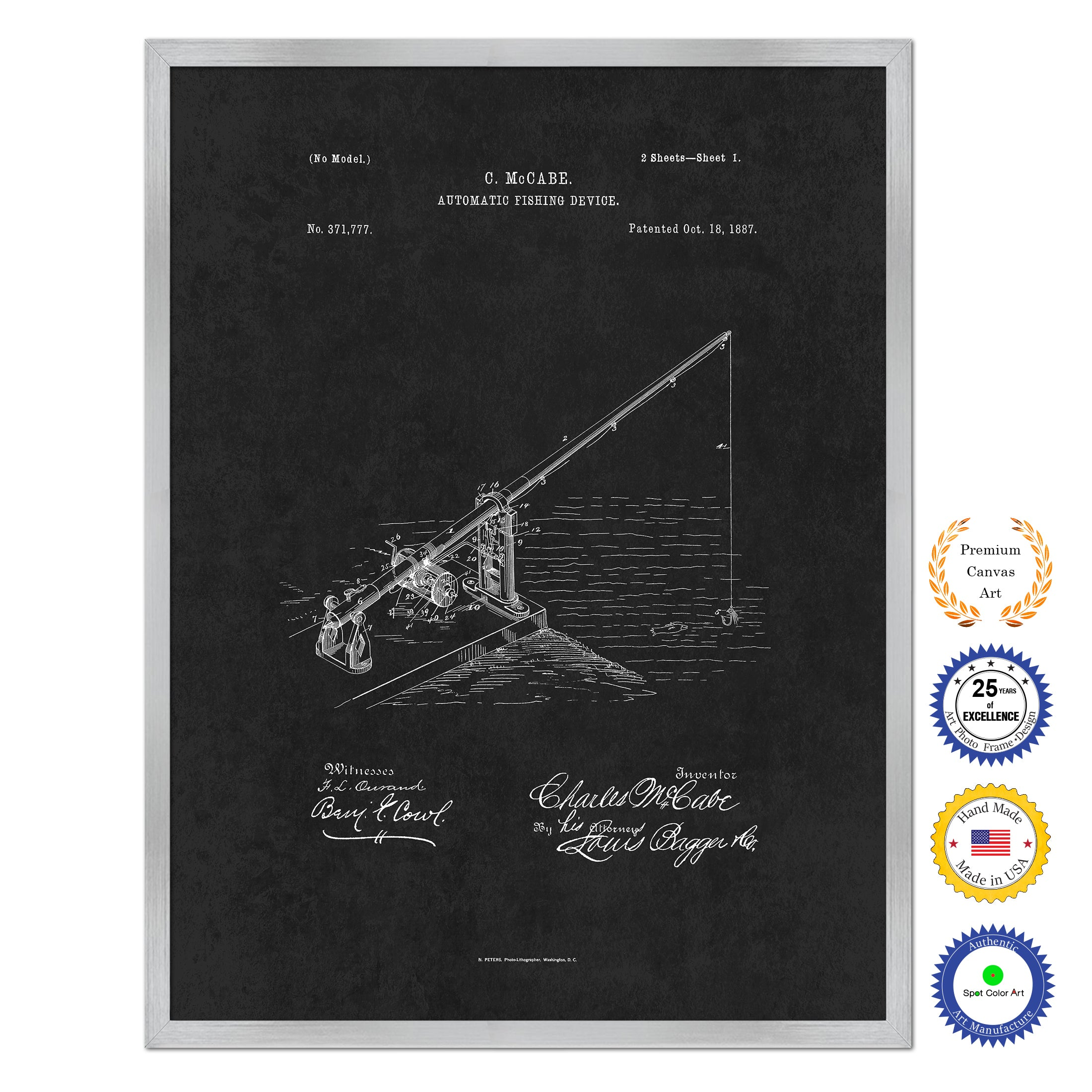 1887 Fishing Automatic Fishing Device Antique Patent Artwork Silver Framed Canvas Home Office Decor Great for Fisherman Cabin Lake House