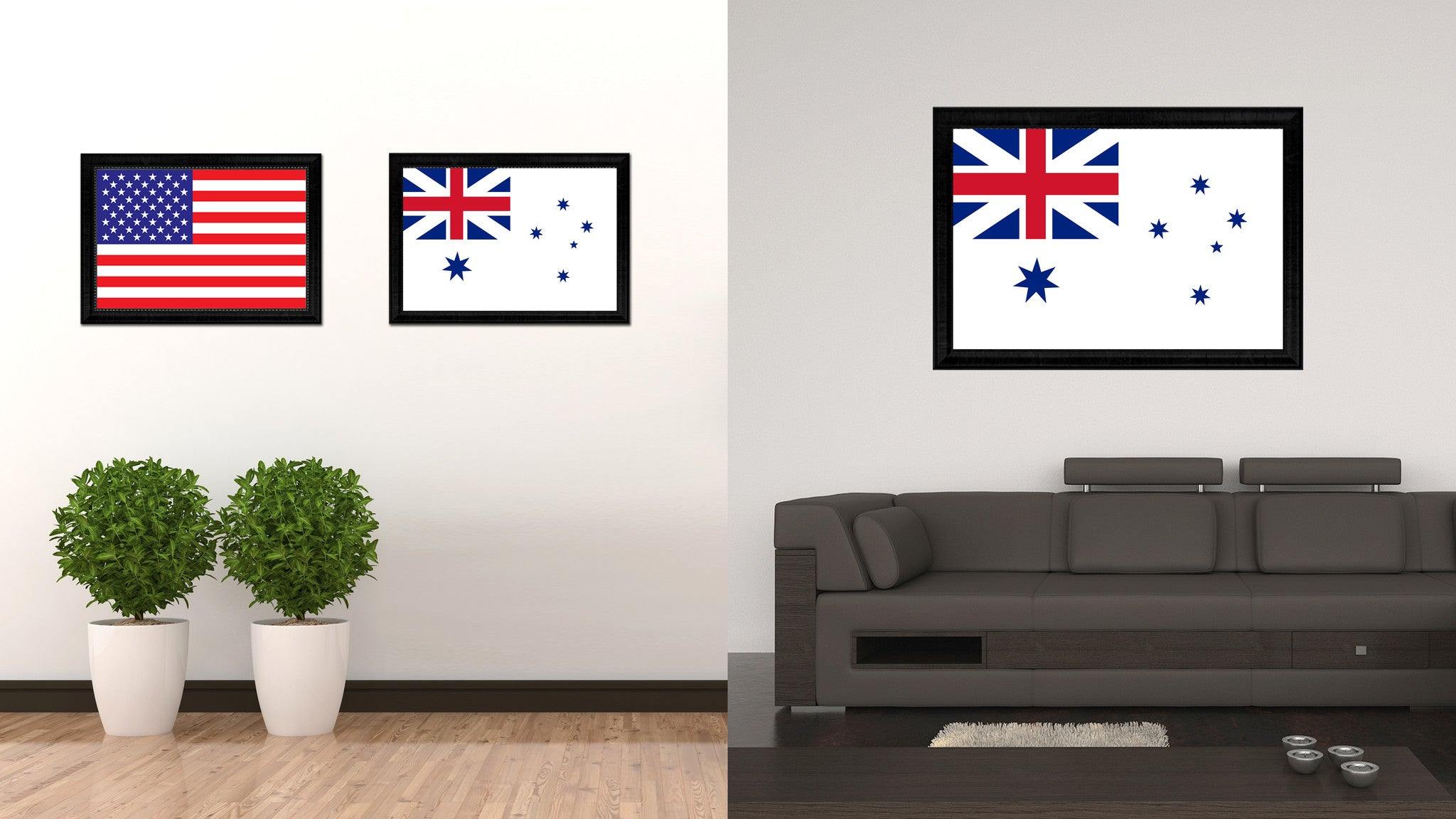 Australian White Ensign City Australia Country Flag Canvas Print Black Picture Frame