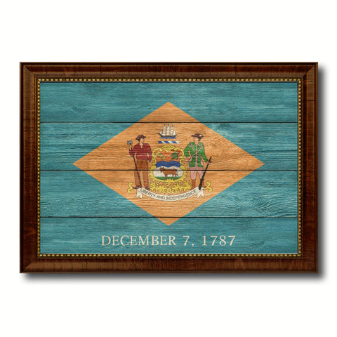 Delaware State Flag Texture Canvas Print with Brown Picture Frame Gifts Home Decor Wall Art Collectible Decoration