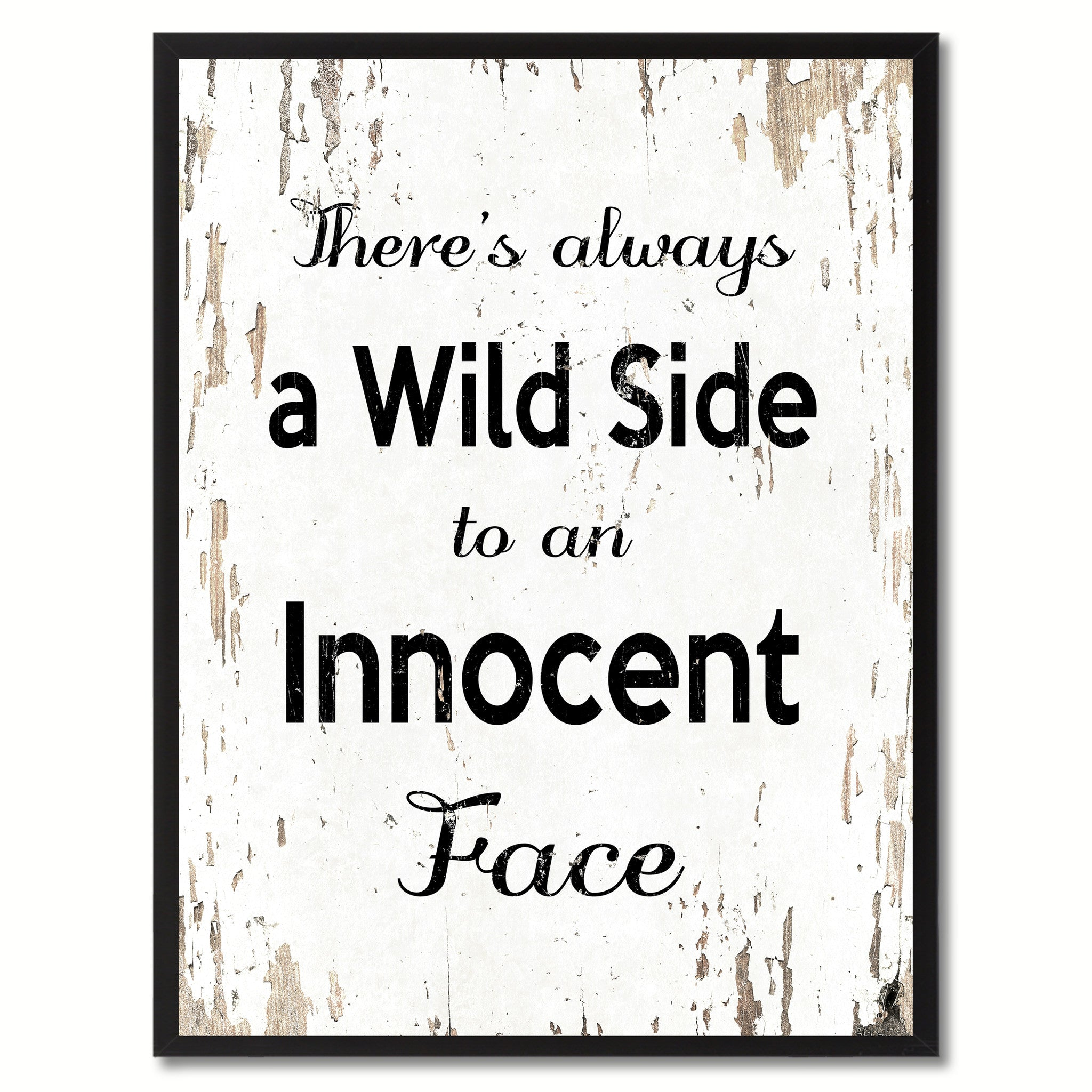 34004078a66f3 There s always a wild side to an innocent face Inspirational Motivation  Saying Quote Canvas Print Picture Frame Gift Home Decor Wall Art –  SpotColorArt