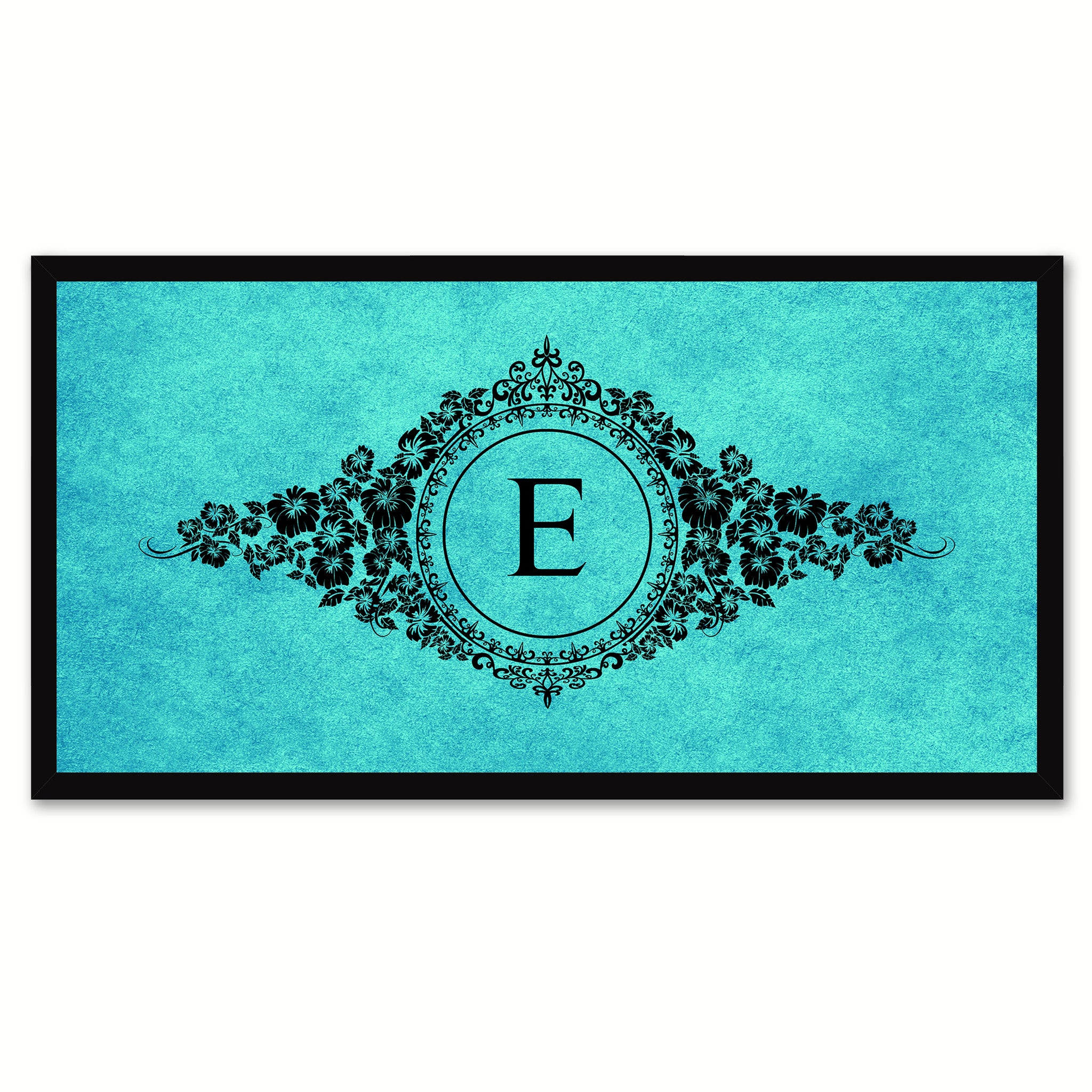 Alphabet Letter E Auqa Canvas Print, Black Custom Frame