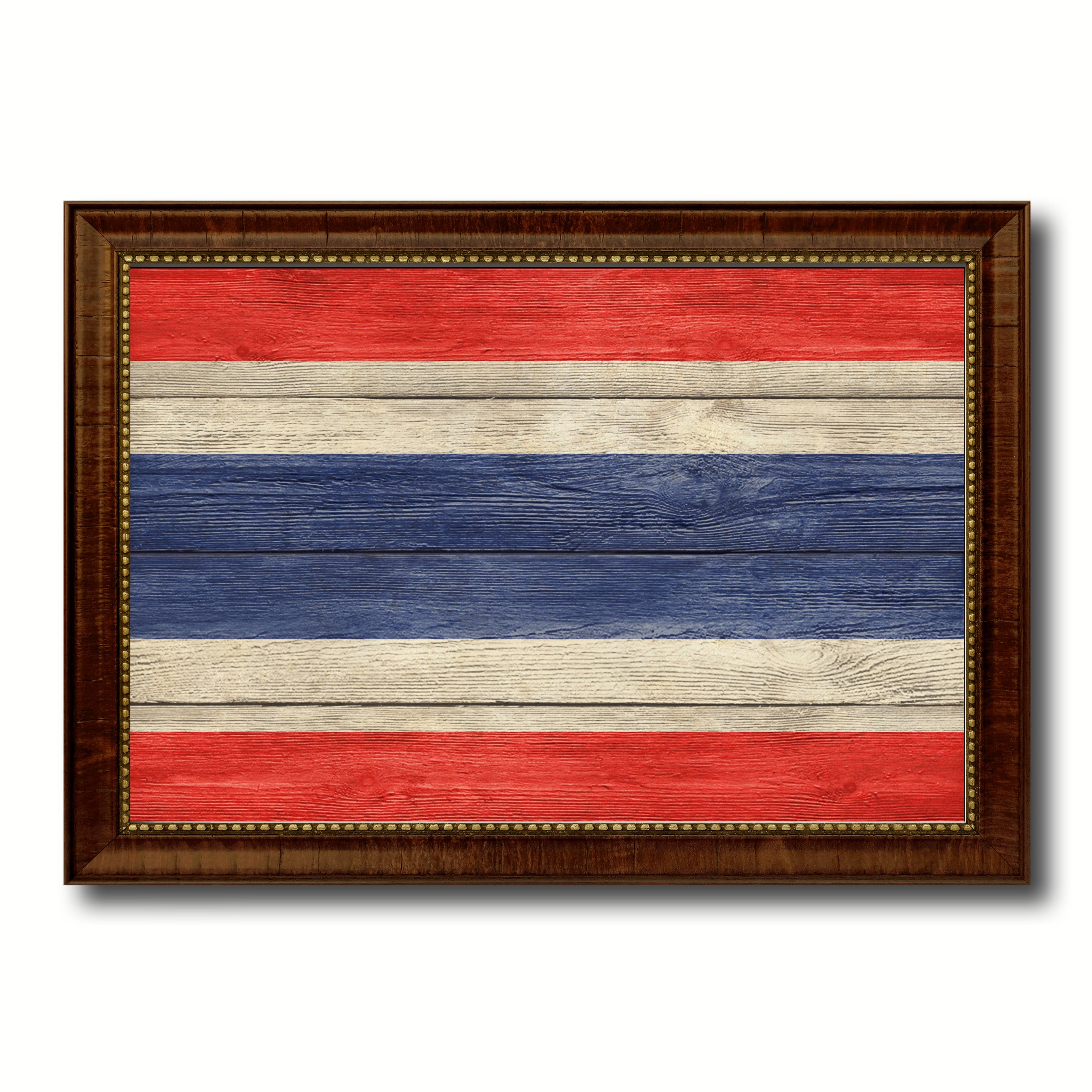 Thailand Country Flag Texture Canvas Print with Brown Custom Picture Frame Home Decor Gift Ideas Wall Art Decoration