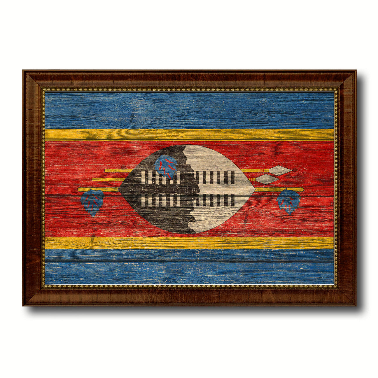 Swaziland Country Flag Texture Canvas Print with Brown Custom Picture Frame Home Decor Gift Ideas Wall Art Decoration