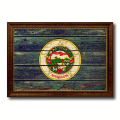 Minnesota Vintage Flag Canvas Print, Picture Frame Gift Ideas Home Décor Wall Art Decoration