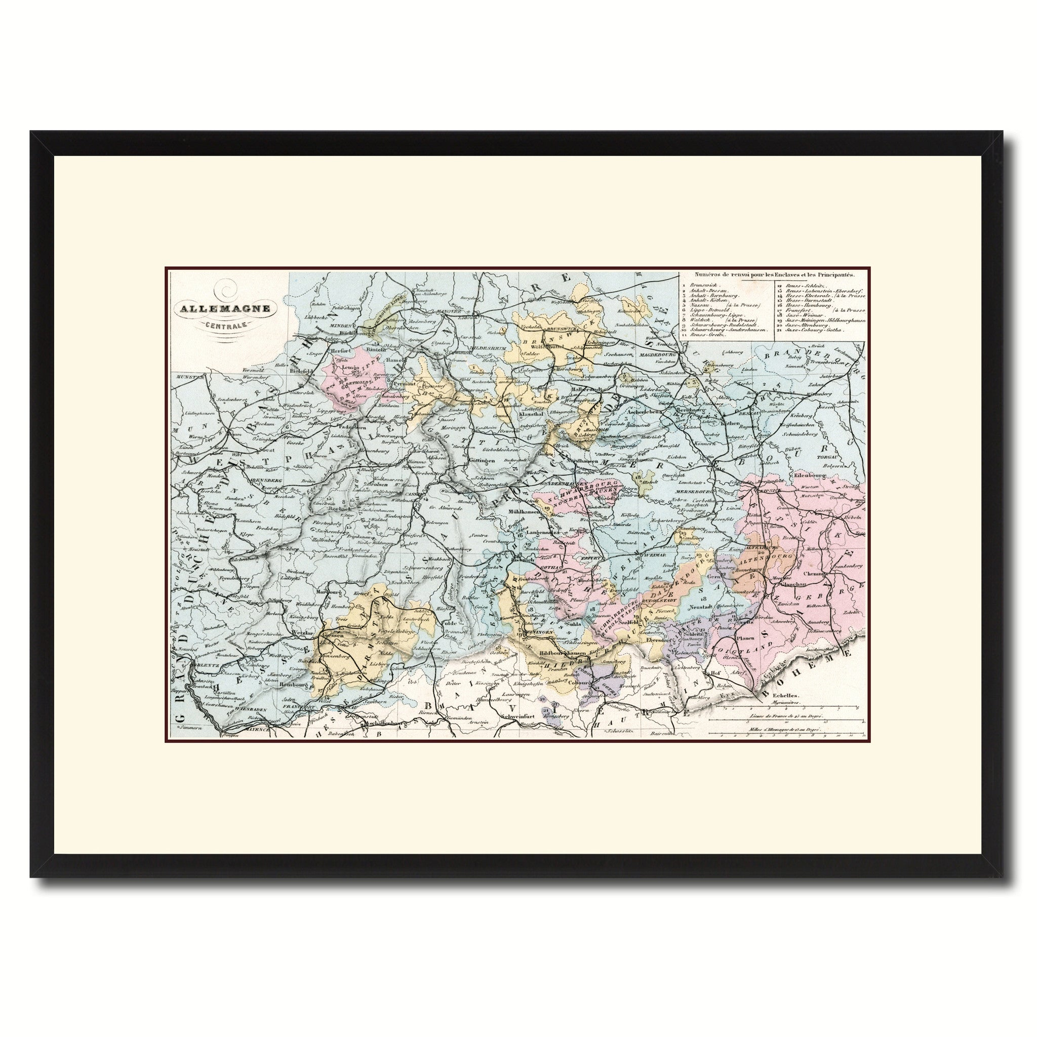 Central Germany Map.Central Germany Vintage Antique Map Wall Art Bedroom Home Decor Gift