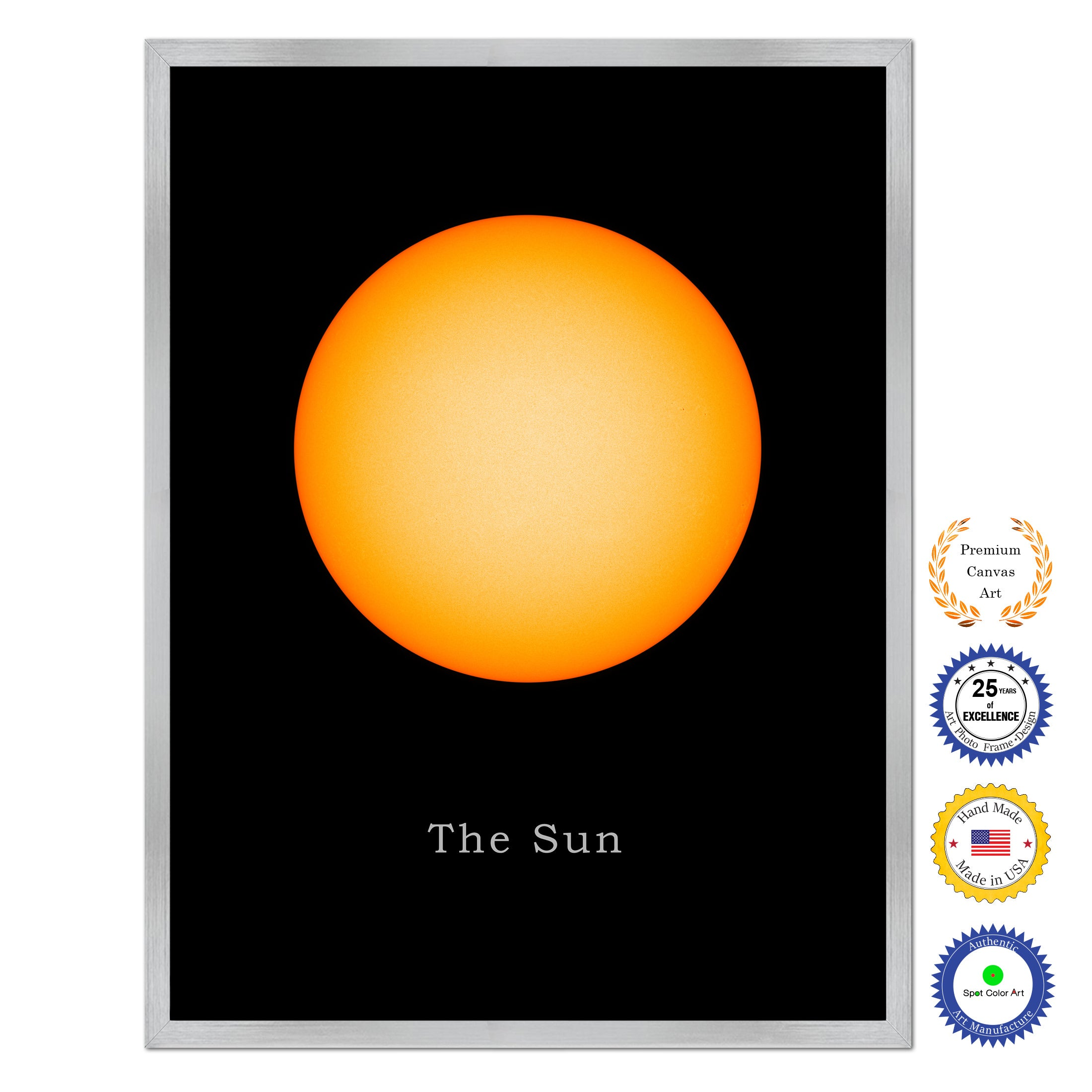Sun Planets of Solar System Art Canvas Print Silver Picture Frame ...