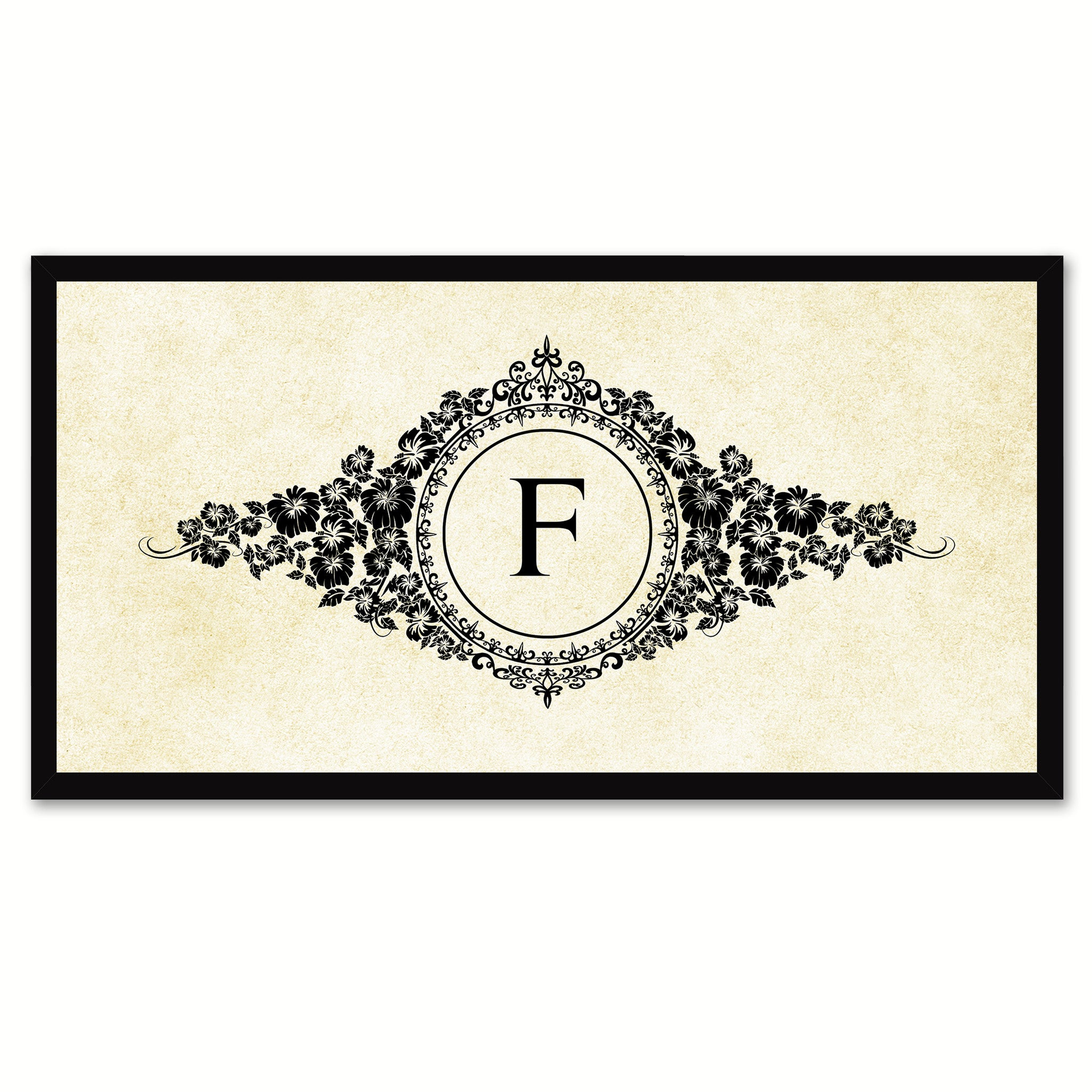 Alphabet Letter F White Canvas Print, Black Custom Frame