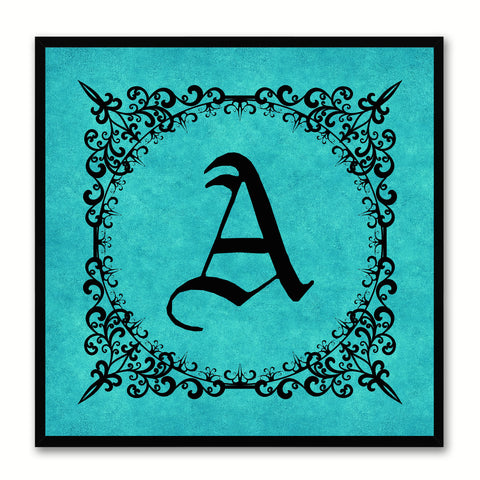 Alphabet A Aqua Canvas Print Black Frame Kids Bedroom Wall Décor Home Art