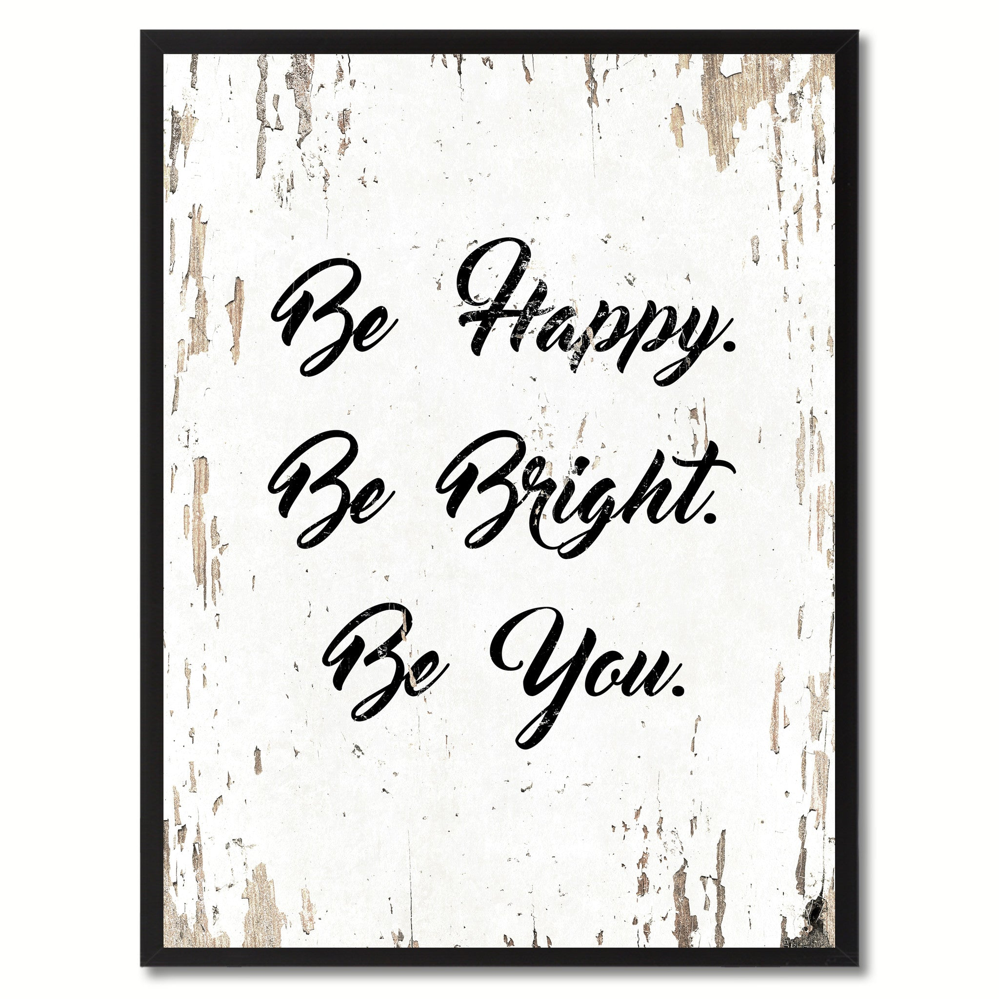 Delightful Be Happy Be Bright Be You Saying Motivation Quote Canvas Print, Black  Picture Frame Home Decor Wall Art Gifts