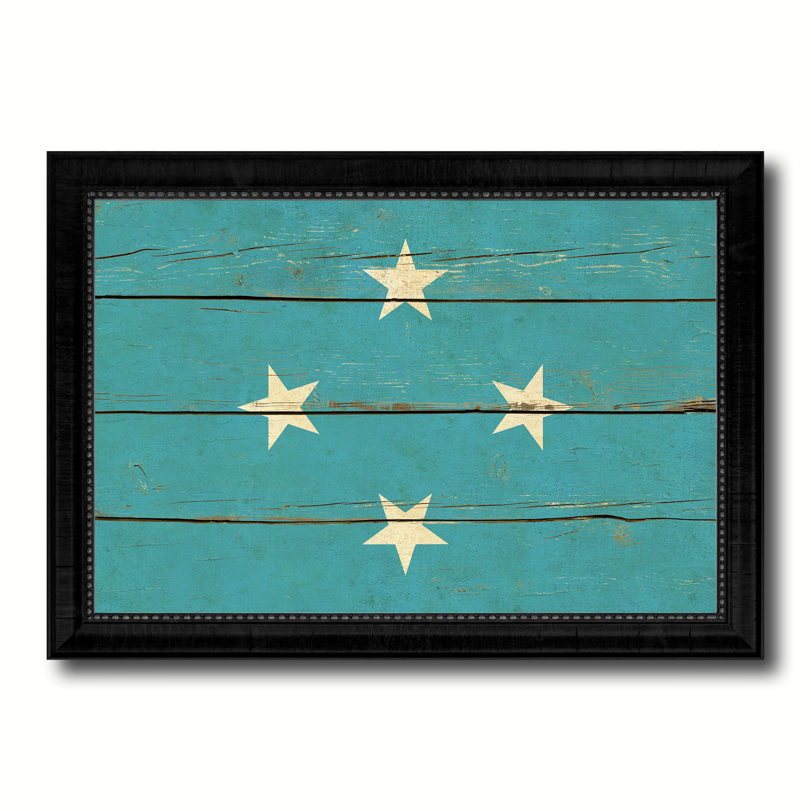 Micronesia Country Flag Vintage Canvas Print with Black Picture Frame Home Decor Gifts Wall Art Decoration Artwork