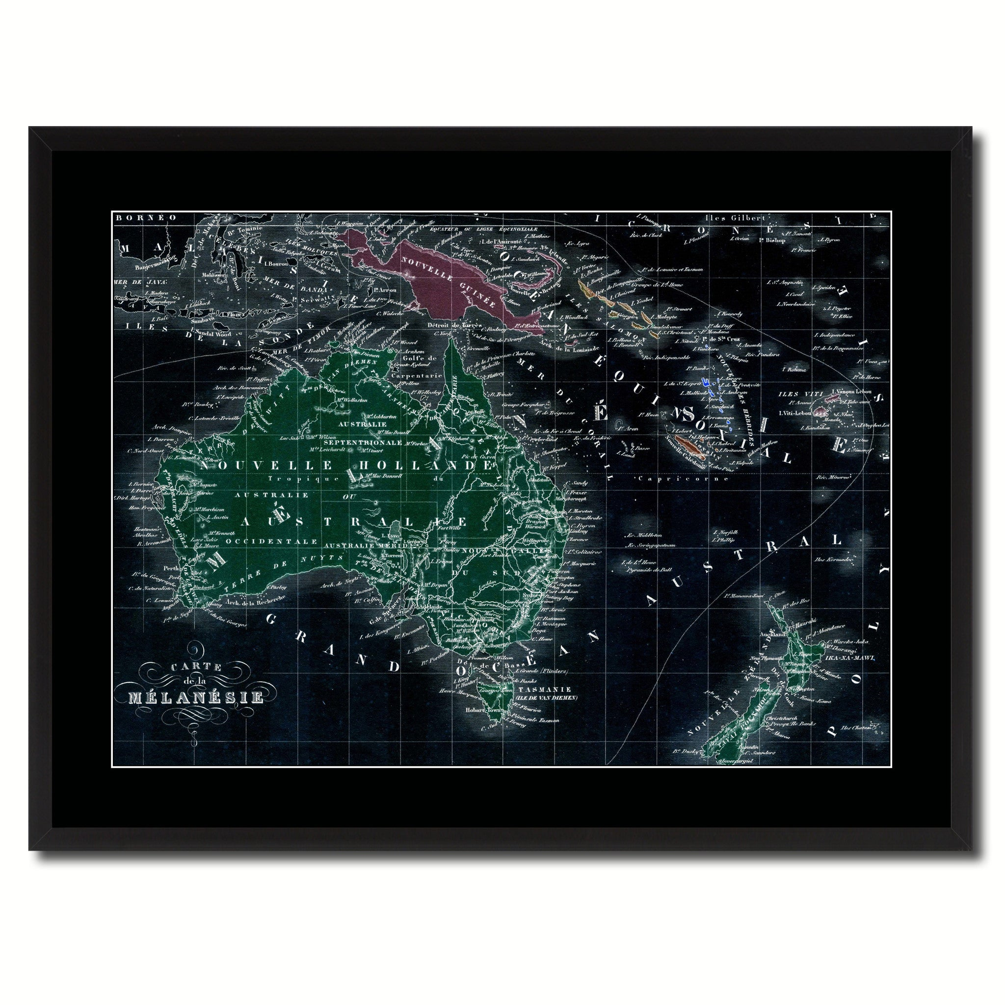 New Zealand Oceania Australia Vintage Vivid Color Map Canvas Print, Picture Frame Home Decor Wall Art Office Decoration Gift Ideas