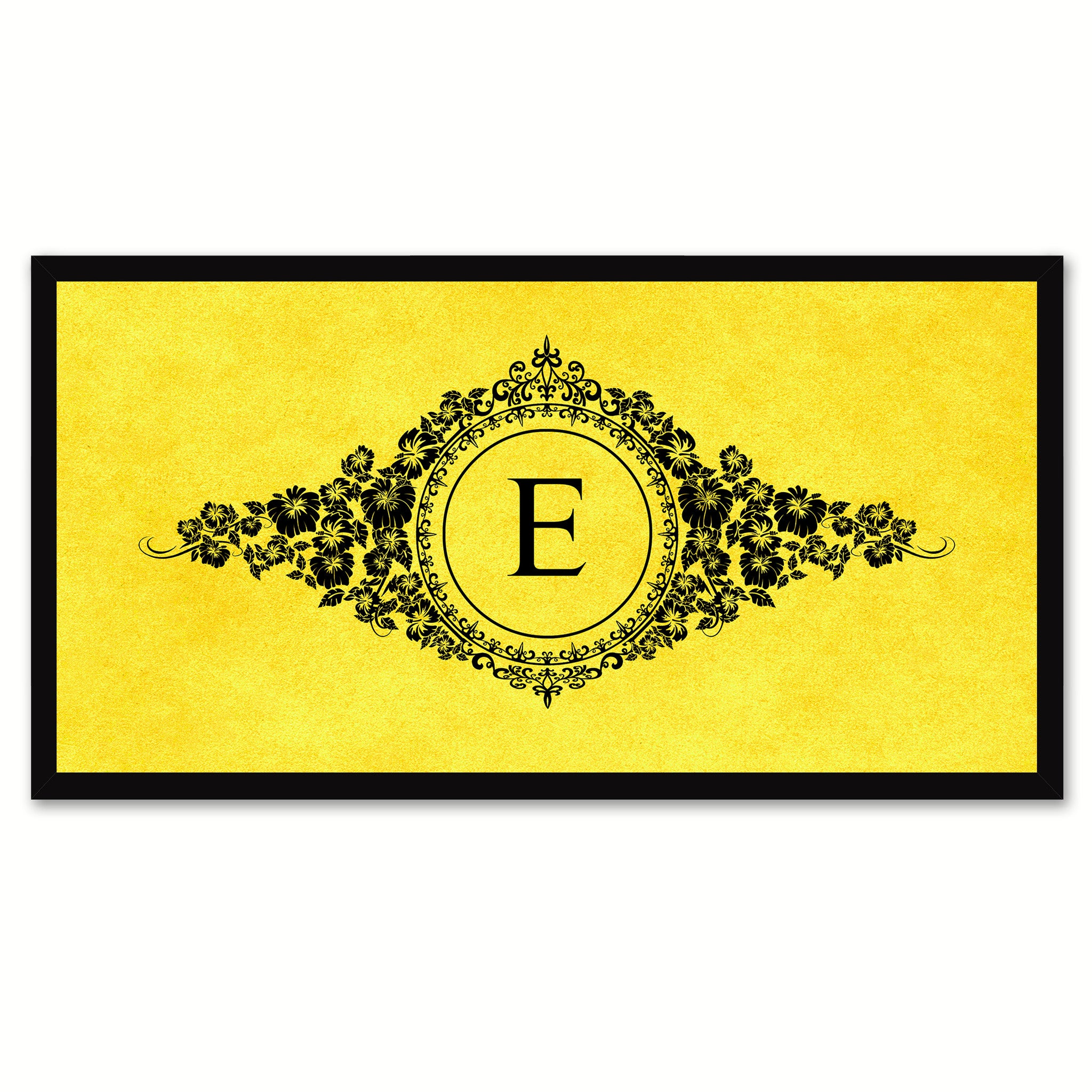 Alphabet Letter E Yellow Canvas Print, Black Custom Frame