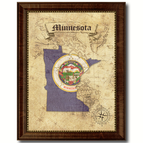 Minnesota State Vintage Map Home Decor Wall Art Office Decoration Gift Ideas