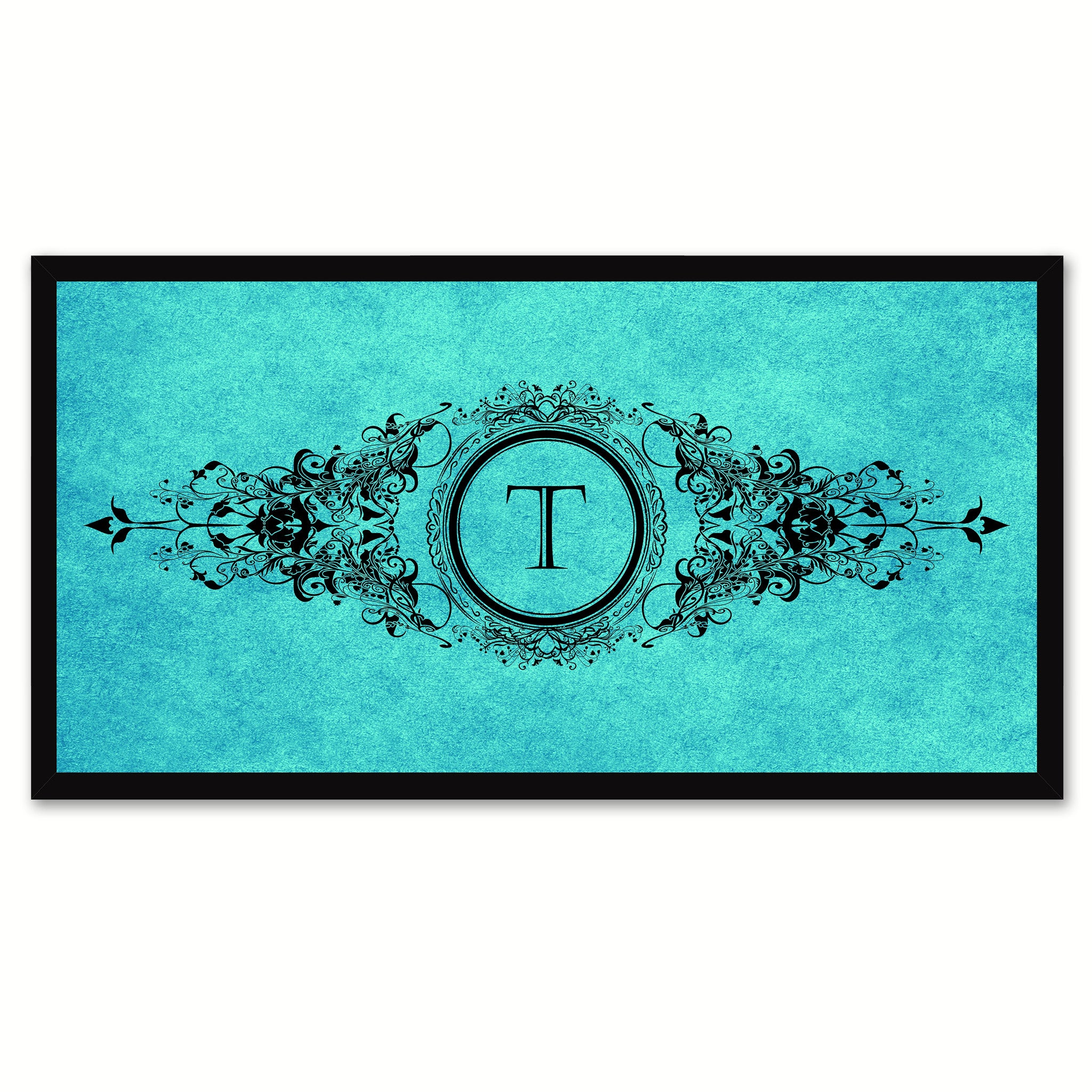 Alphabet Letter T Aqua Canvas Print, Black Custom Frame
