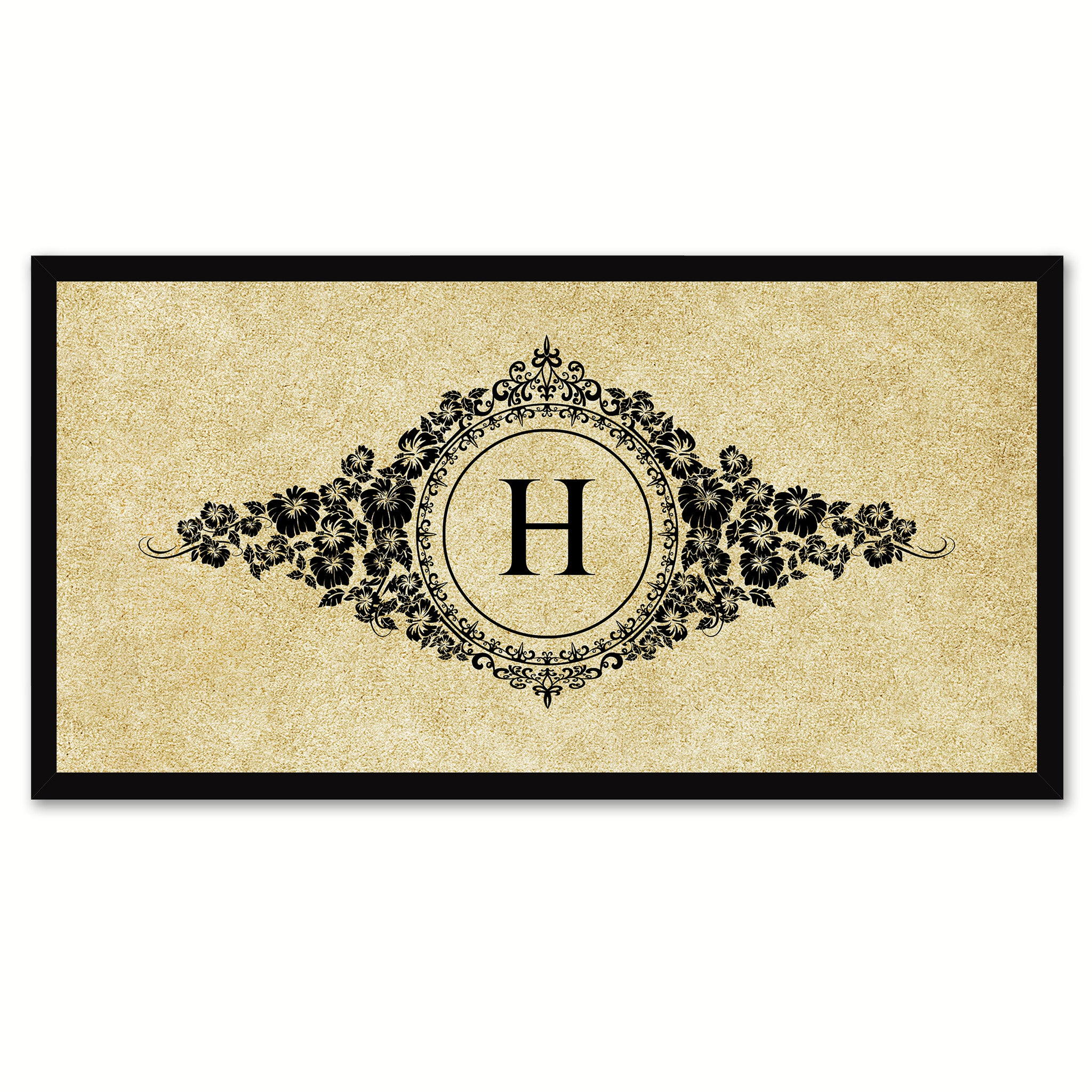 Alphabet Letter H Brown Canvas Print, Black Custom Frame