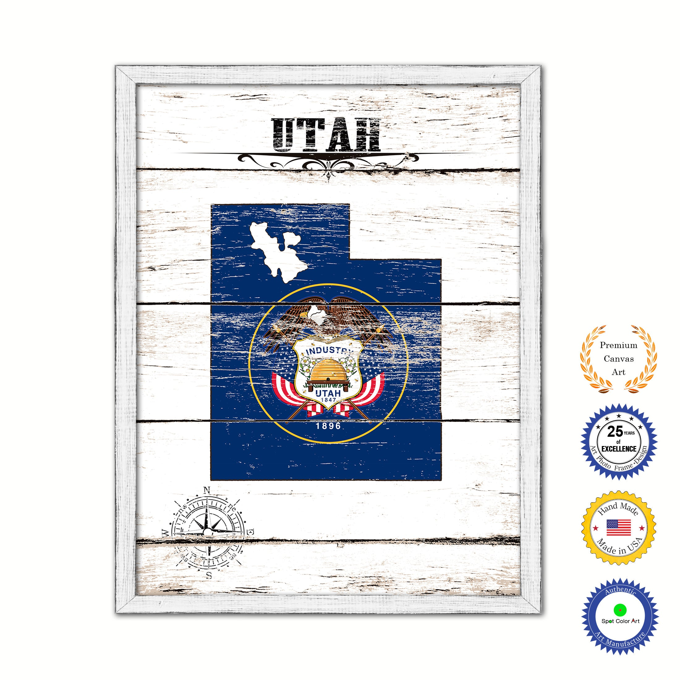 Utah State Shabby Chic Flag Home Decor Office Wall Art Collection Bedroom Livingroom Decoration Gift Ideas SpotColorArt