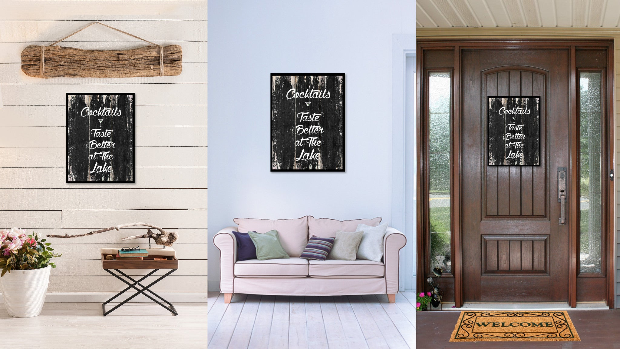 Cocktails taste better at the lake Quote Saying Canvas Print with Picture Frame Home Decor Wall Art