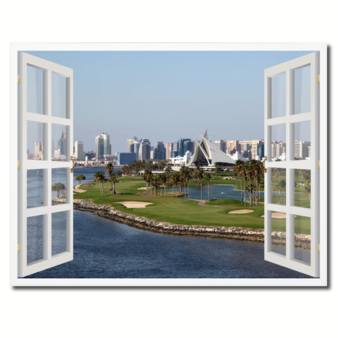 Dubai Creek Golf Course Picture French Window Framed Canvas Print Home Decor Wall Art Collection