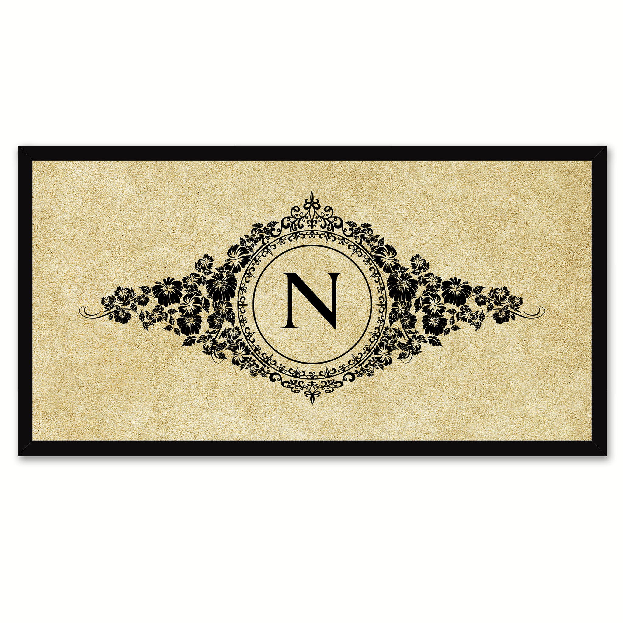 Alphabet Letter N Brown Canvas Print, Black Custom Frame