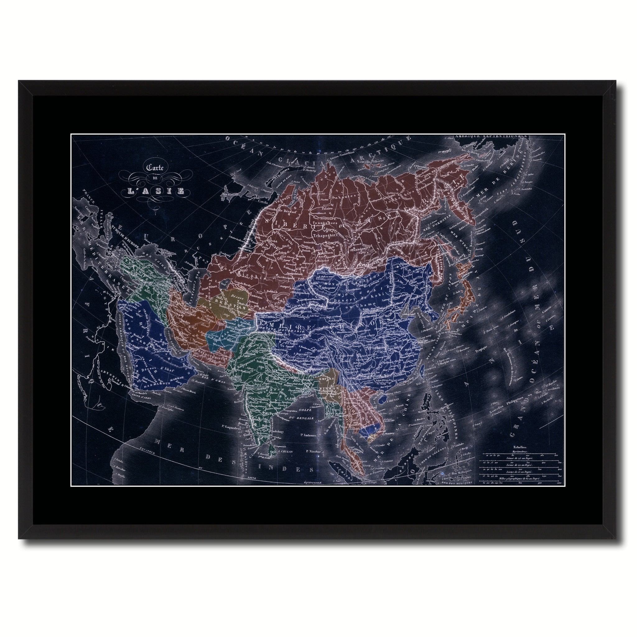 Asia Vintage Vivid Color Map Canvas Print, Picture Frame Home Decor Wall Art Office Decoration Gift Ideas