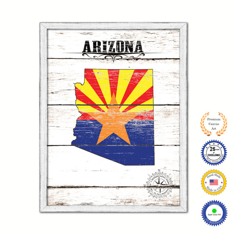 Arizona Flag Gifts Home Decor Wall Art Canvas Print with Custom Picture Frame