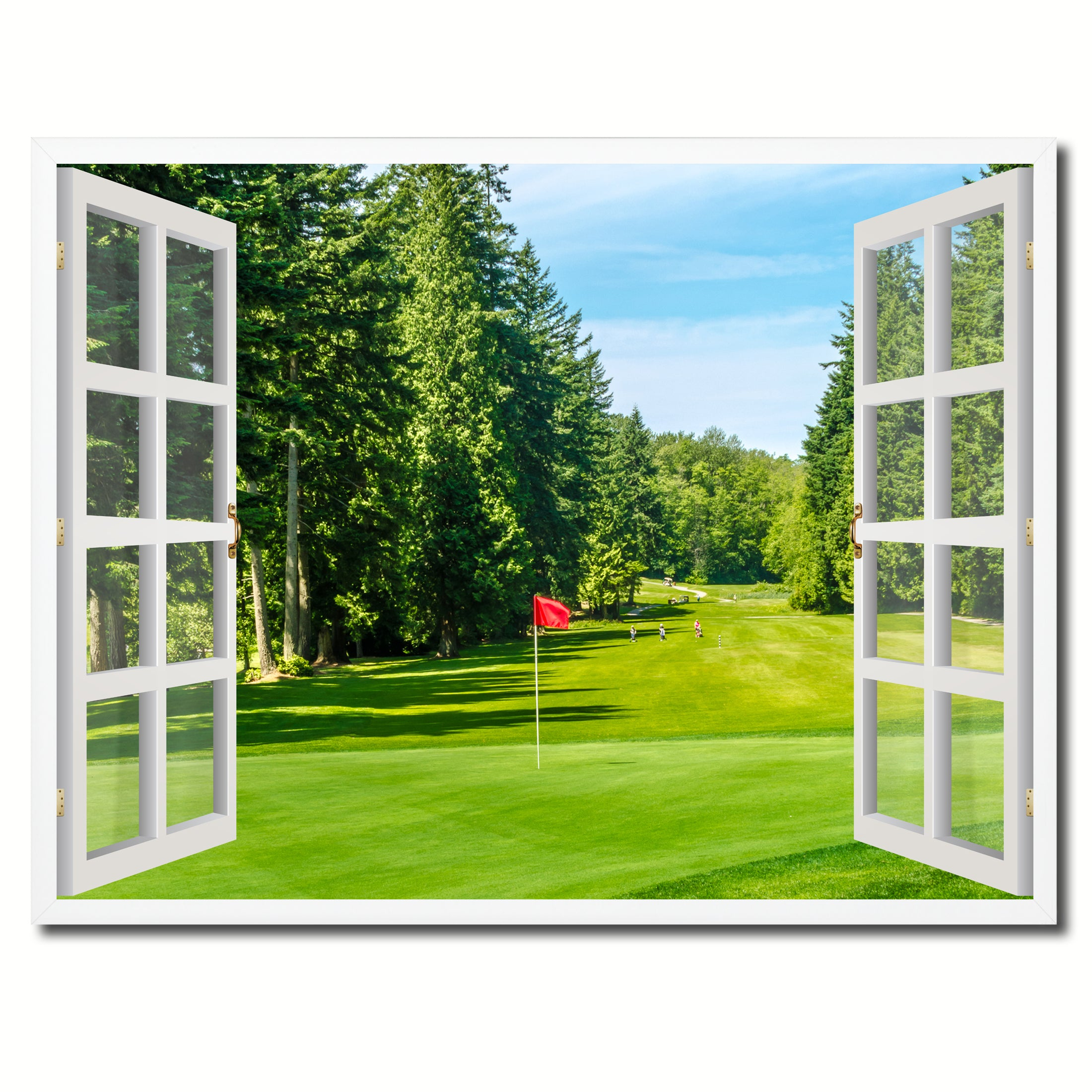 Vancouver Canada Golf Course View Picture French Window Framed Canvas Print Home  Decor Wall Art Collection