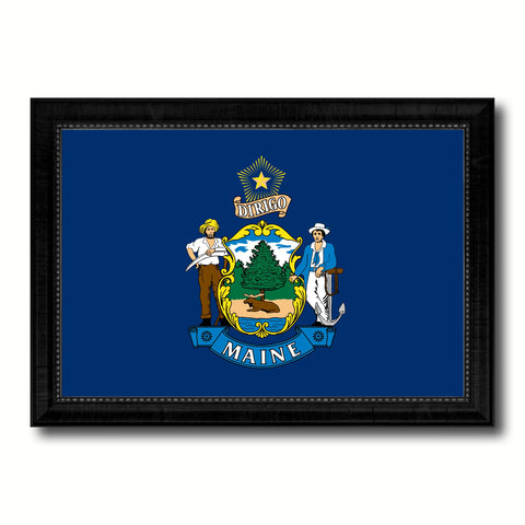 Maine State Flag Canvas Print with Custom Black Picture Frame Home Decor Wall Art Decoration Gifts