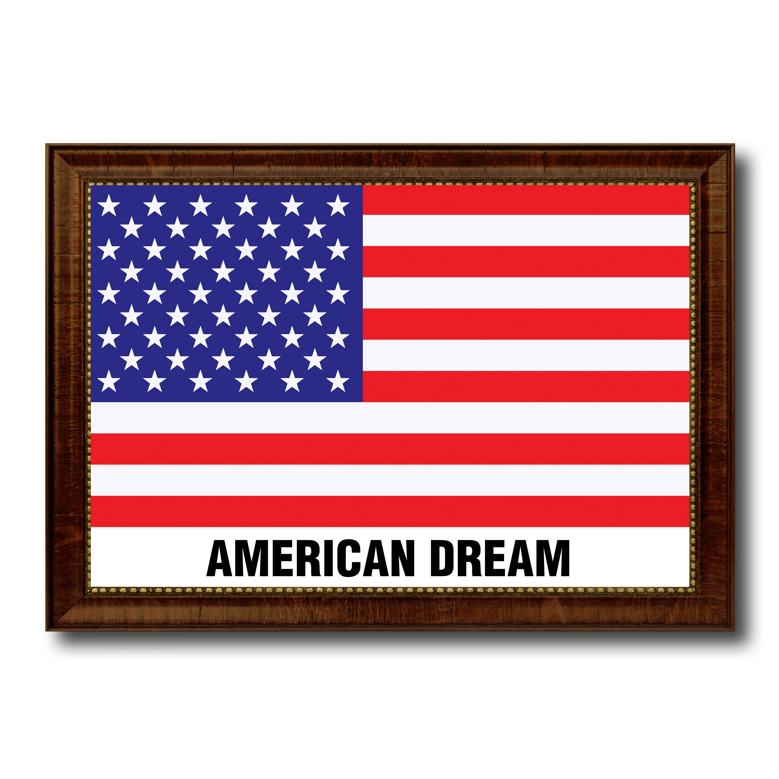 USA American Dream Flag Canvas Print with Brown Picture Frame Home Decor Wall Art Gift Ideas
