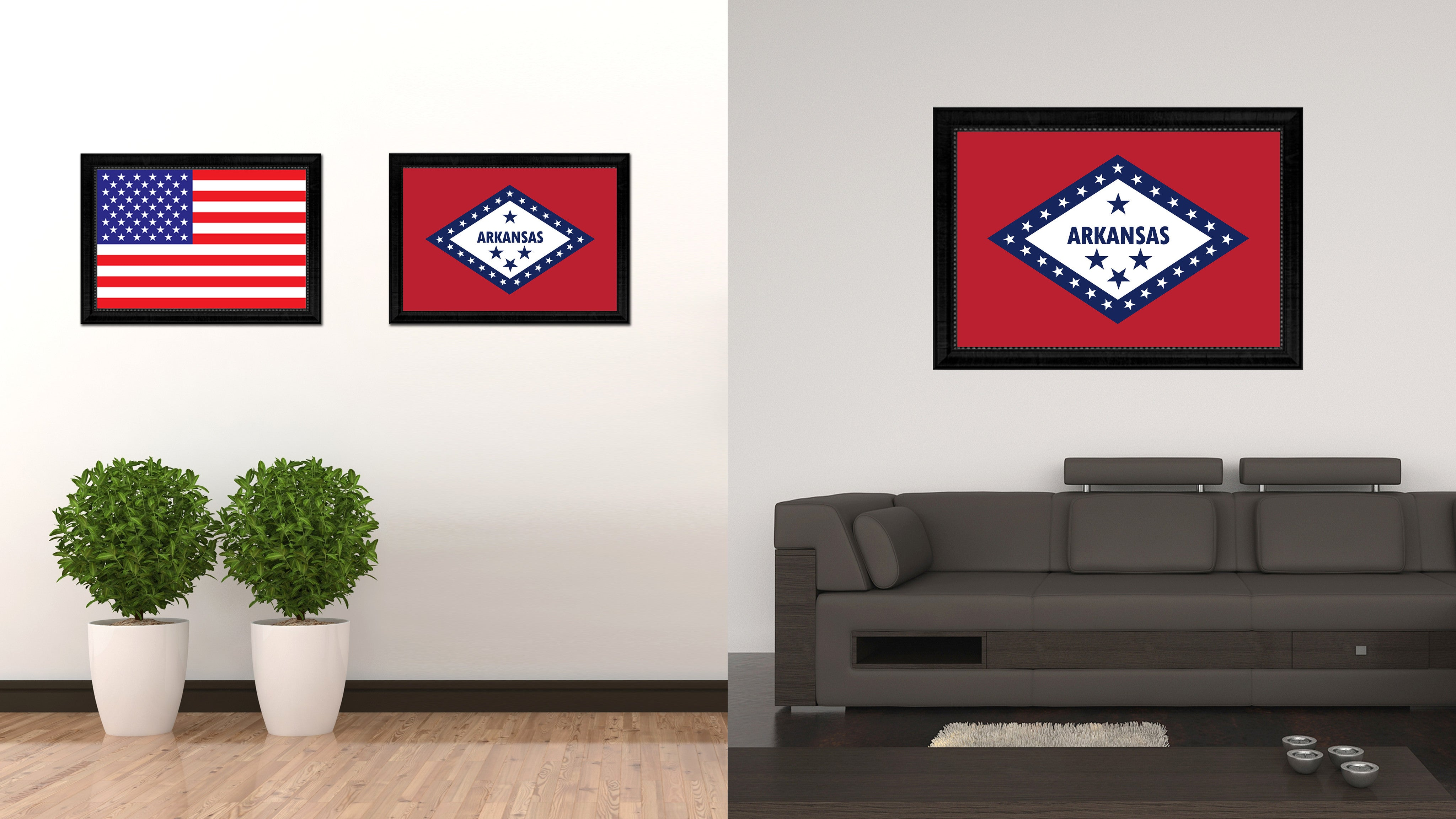 Arkansas State Flag Canvas Print with Custom Black Picture Frame Home Decor Wall Art Decoration Gifts