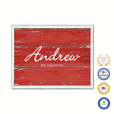 Andrew Name Plate White Wash Wood Frame Canvas Print Boutique Cottage Decor Shabby Chic