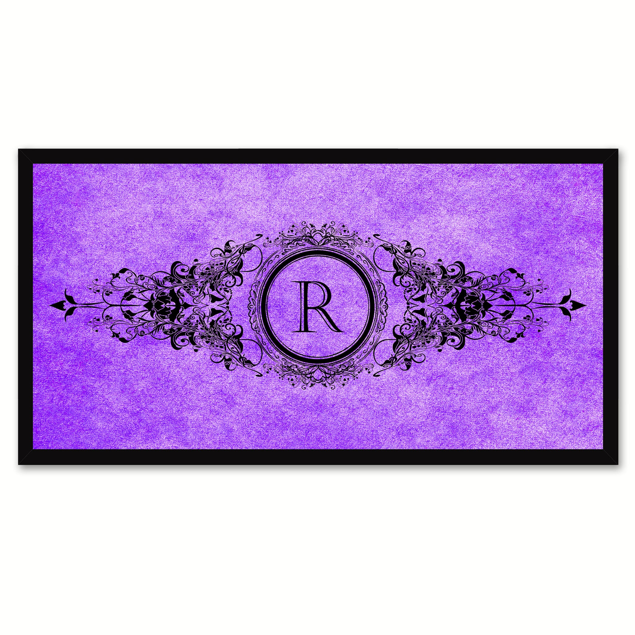 Alphabet Letter R Purple Canvas Print, Black Custom Frame