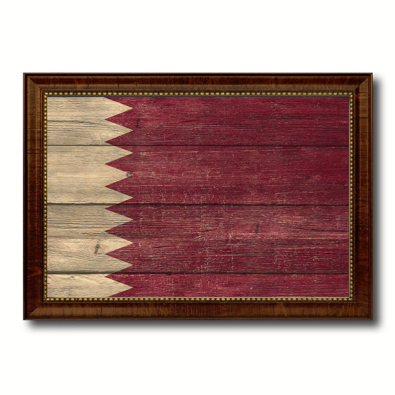 Qatar Country Flag Texture Canvas Print with Brown Custom Picture Frame Home Decor Gift Ideas Wall Art Decoration