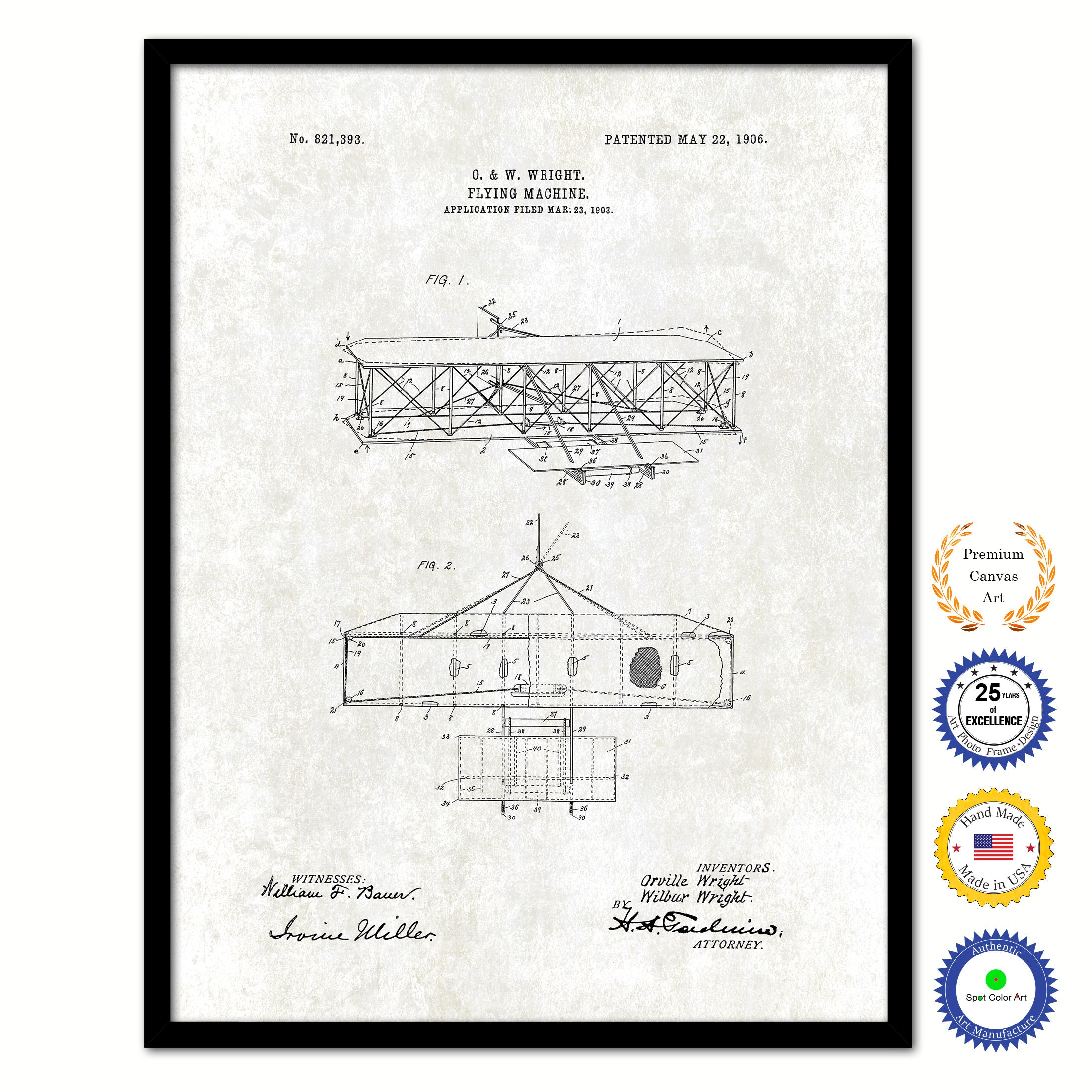 1906 Flying Machine Vintage Patent Artwork Black Framed Canvas Print Home Office Decor Great for Pilot Gift