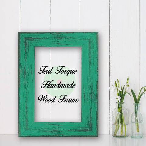 Teal Torque Shabby Chic Home Decor Custom Frame Great for Farmhouse Vintage Rustic Wood Picture Frame