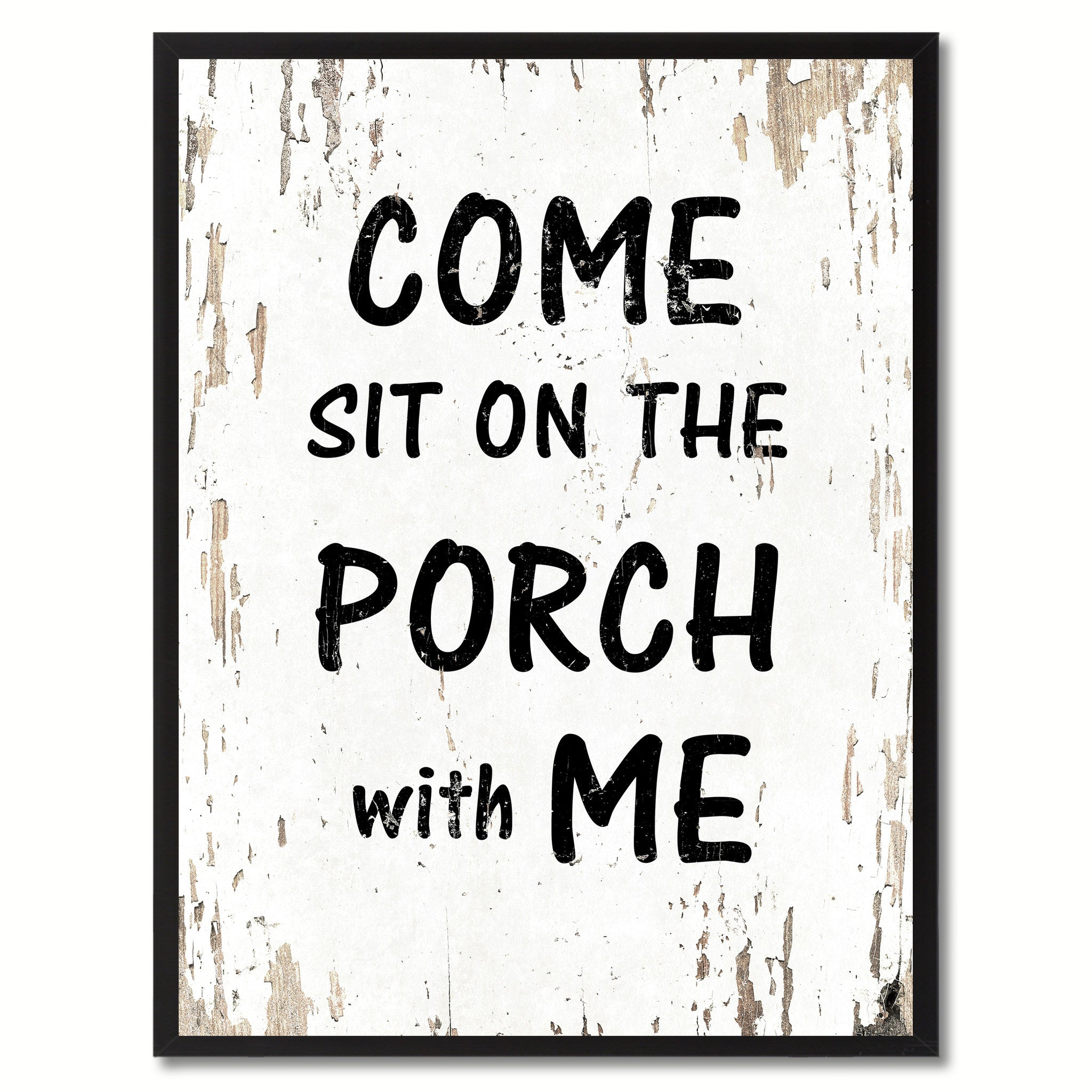 Come Sit On The Porch With Me Saying Canvas Print, Black Picture Frame Home Decor Wall Art Gifts