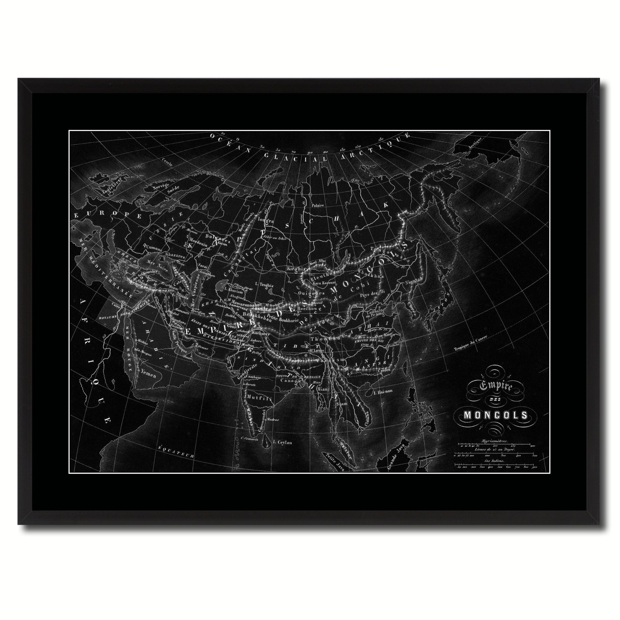 Mongolian Empire Asia Vintage Monochrome Map Canvas Print, Gifts Picture Frames Home Decor Wall Art