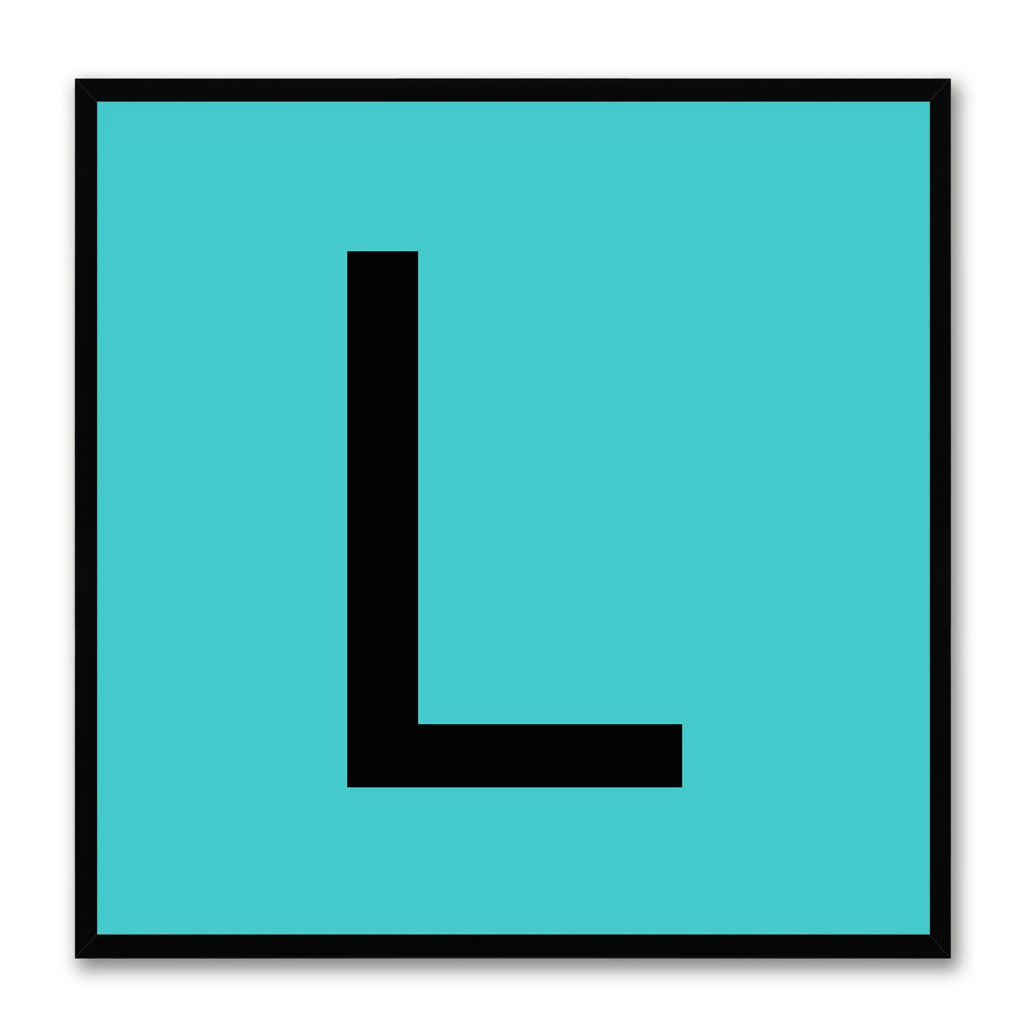 Alphabet L Aqua Canvas Print Black Frame Kids Bedroom Wall Décor Home Art