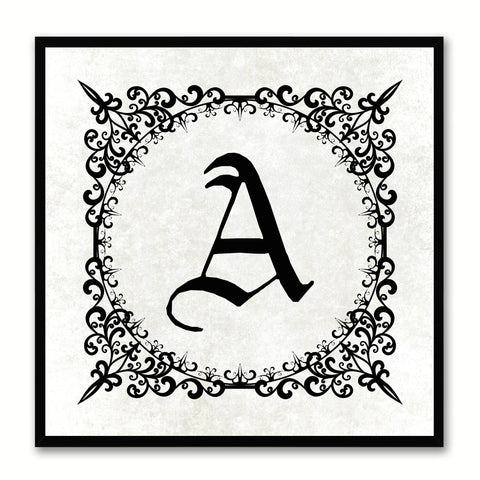 Alphabet A White Canvas Print Black Frame Kids Bedroom Wall Décor Home Art
