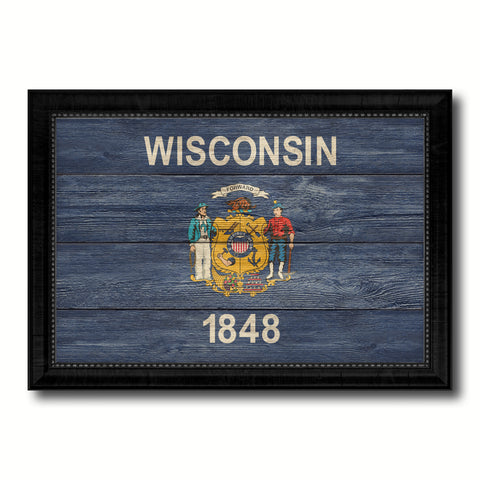 Wisconsin State Flag Texture Canvas Print with Black Picture Frame Home Decor Man Cave Wall Art Collectible Decoration Artwork Gifts