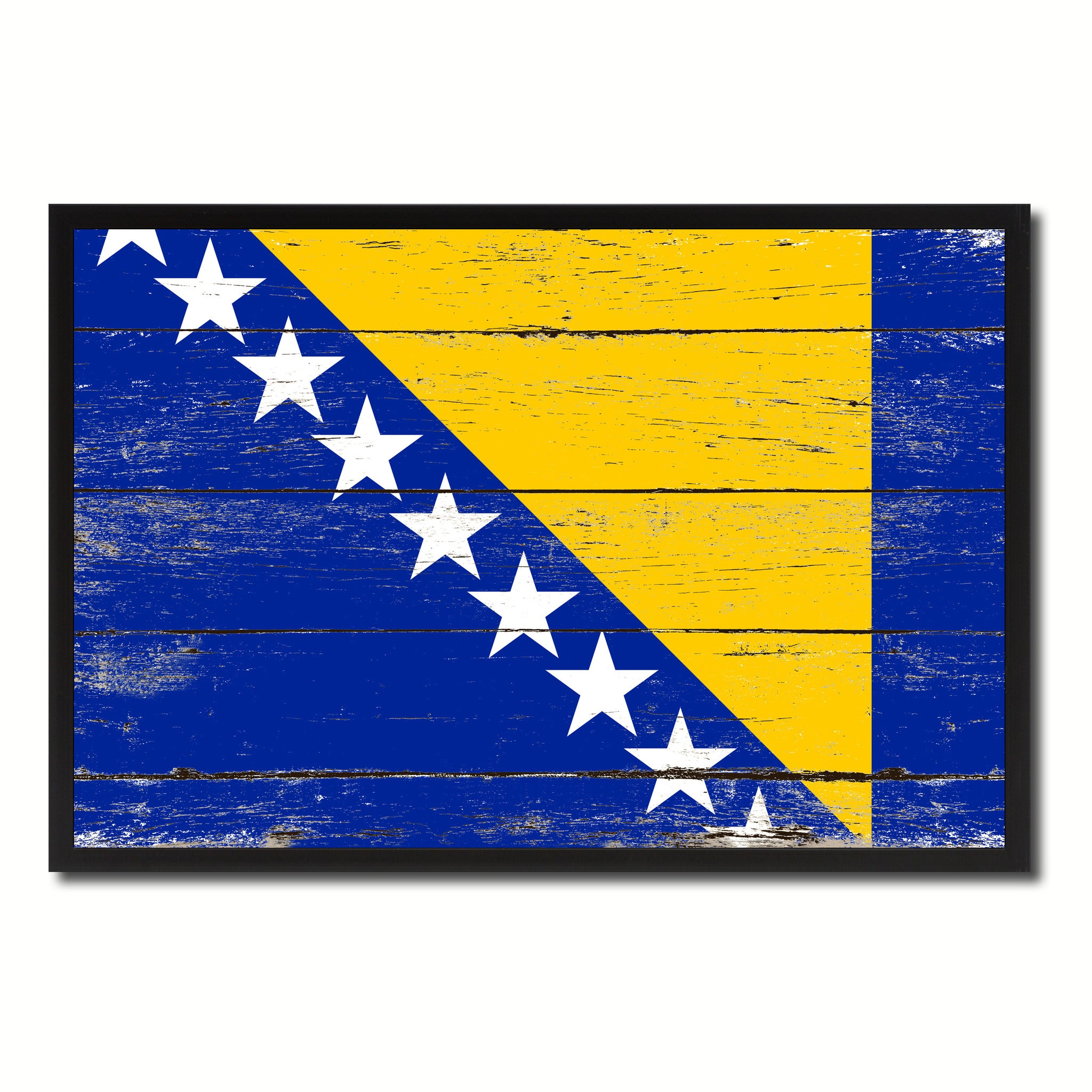 Bosnia Country National Flag Vintage Canvas Print with Picture Frame Home Decor Wall Art Collection Gift Ideas