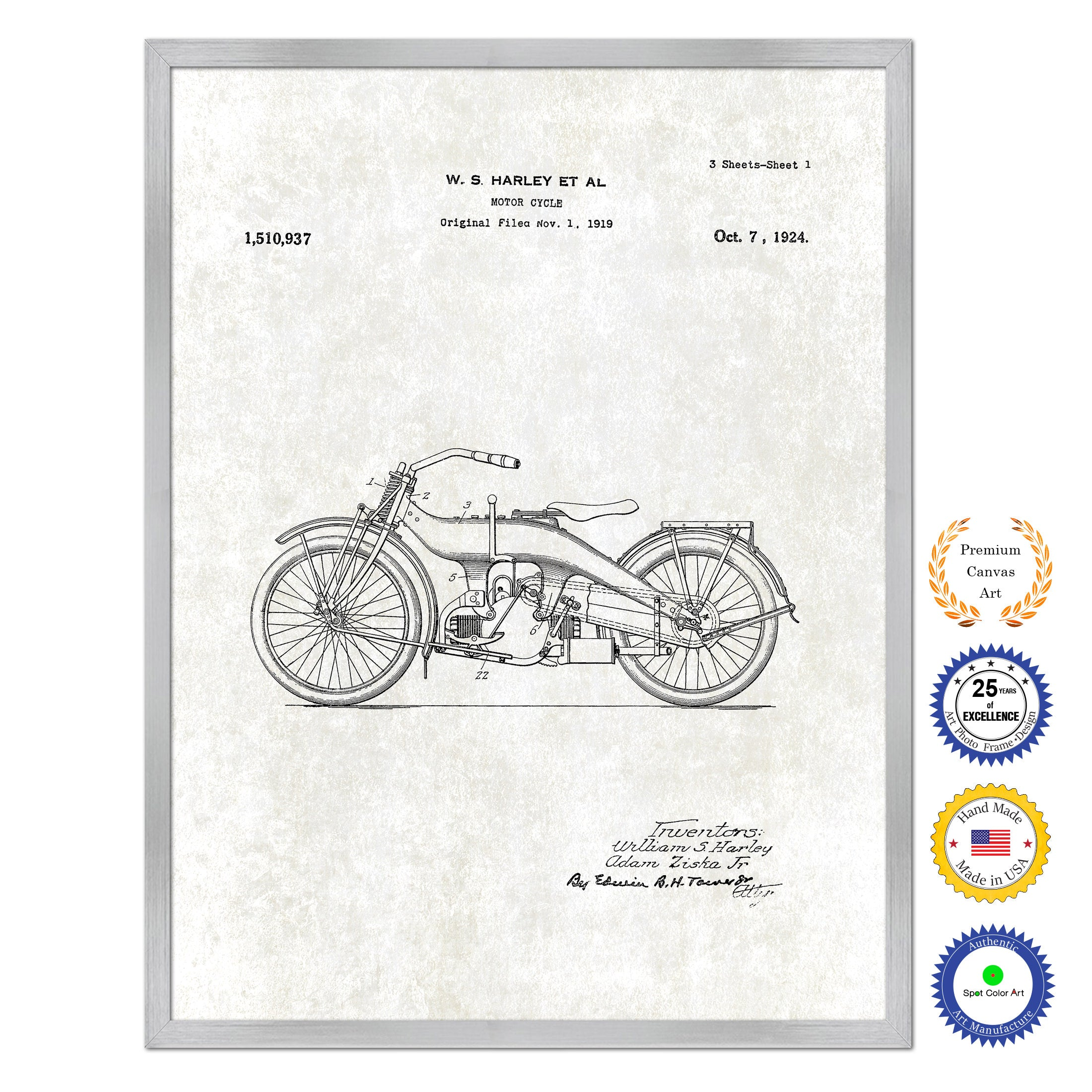 1924 Motor Cycle Old Patent Art Print on Canvas Custom Framed Vintage Home Decor Wall Decoration Great for Gifts