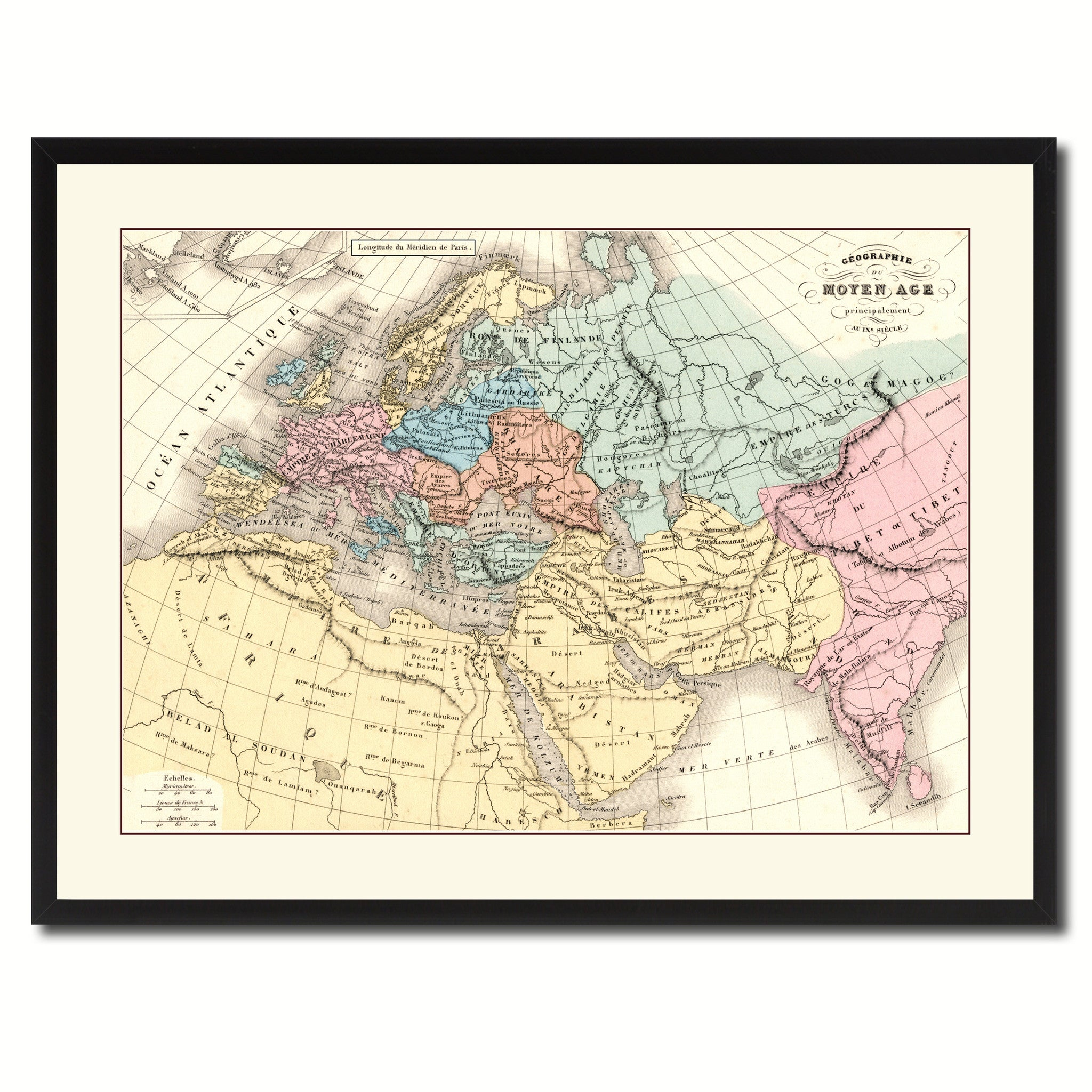 Europe In The Middle Ages Crusades Vintage Antique Map Wall Art ...